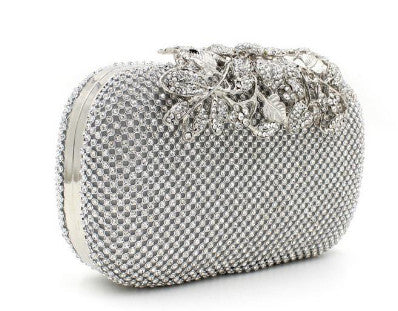 front of silver clutch evening bag