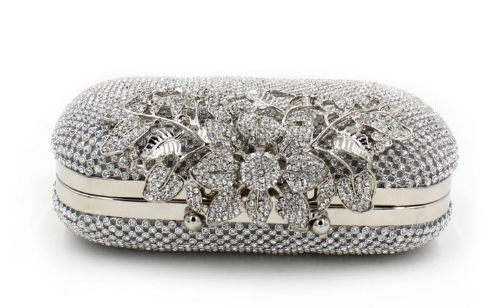side of silver clutch evening bag