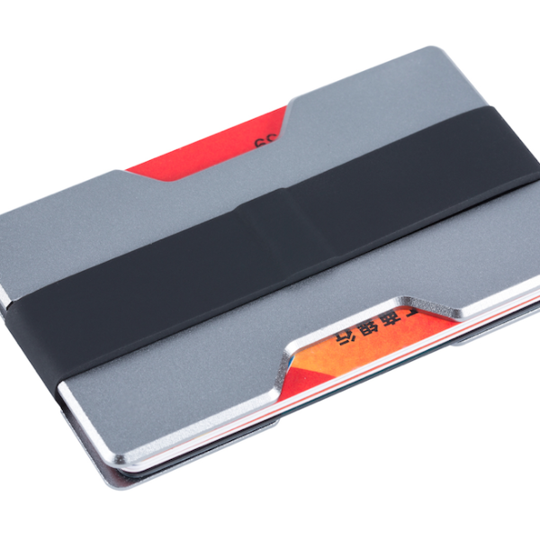 Aluminium slim wallet holds cash and cards