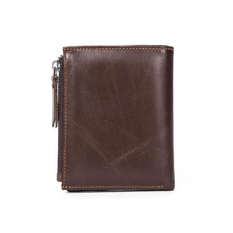 dark brown genuine leather mens wallet with zips