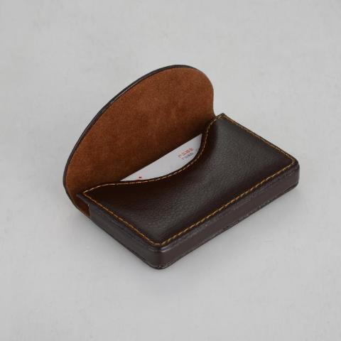 magnetic flap card holder in brown and black