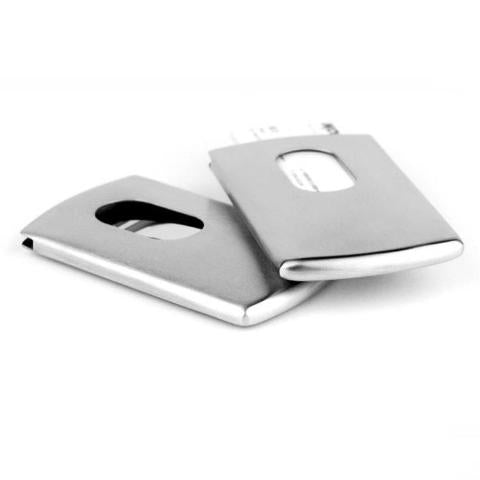 The stylish slim holds cards. Available in silver