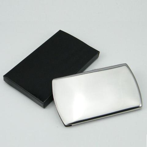 Back of stylish slim- holds cards. Available in silver