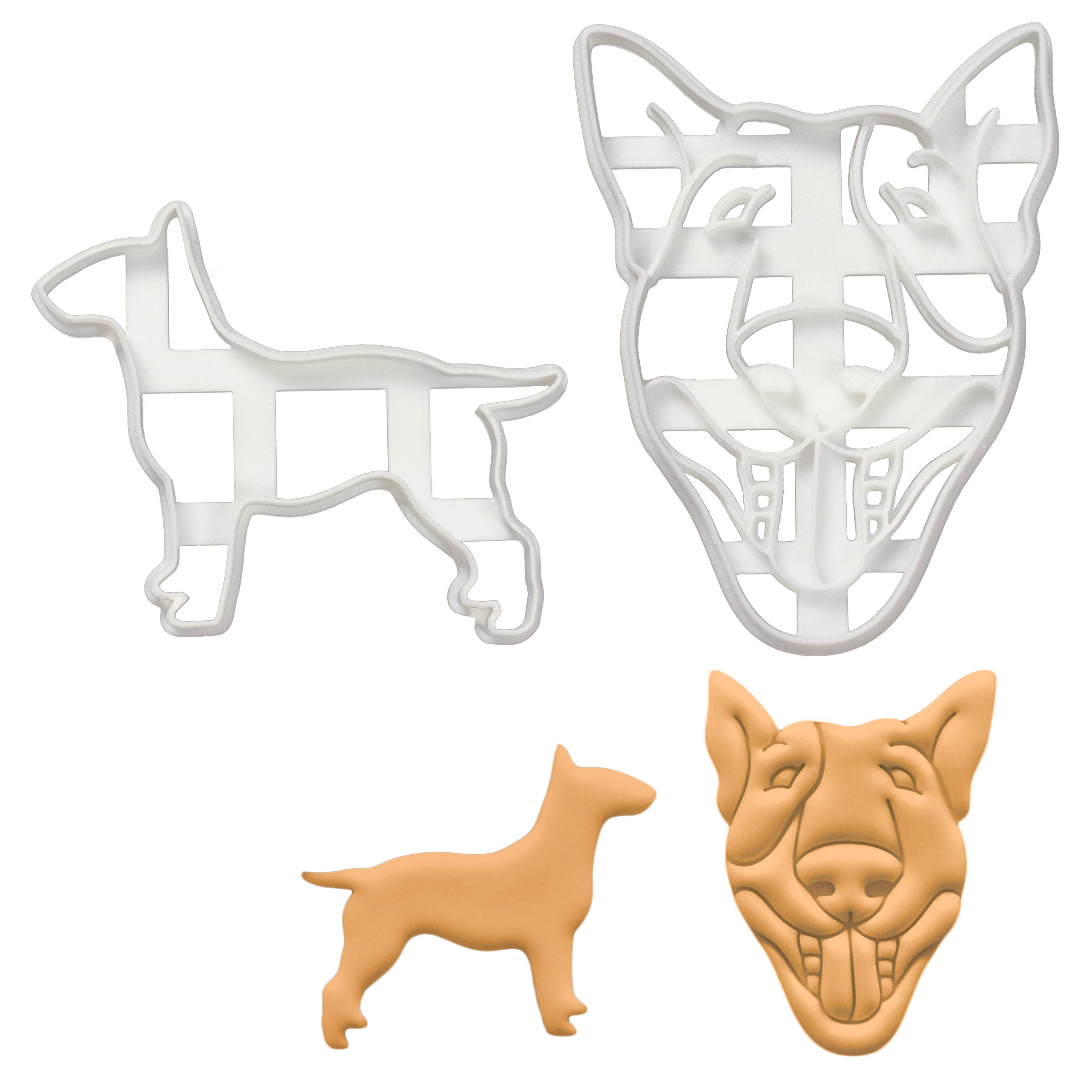 Set of 2 English bull terrier dog cookie cutters