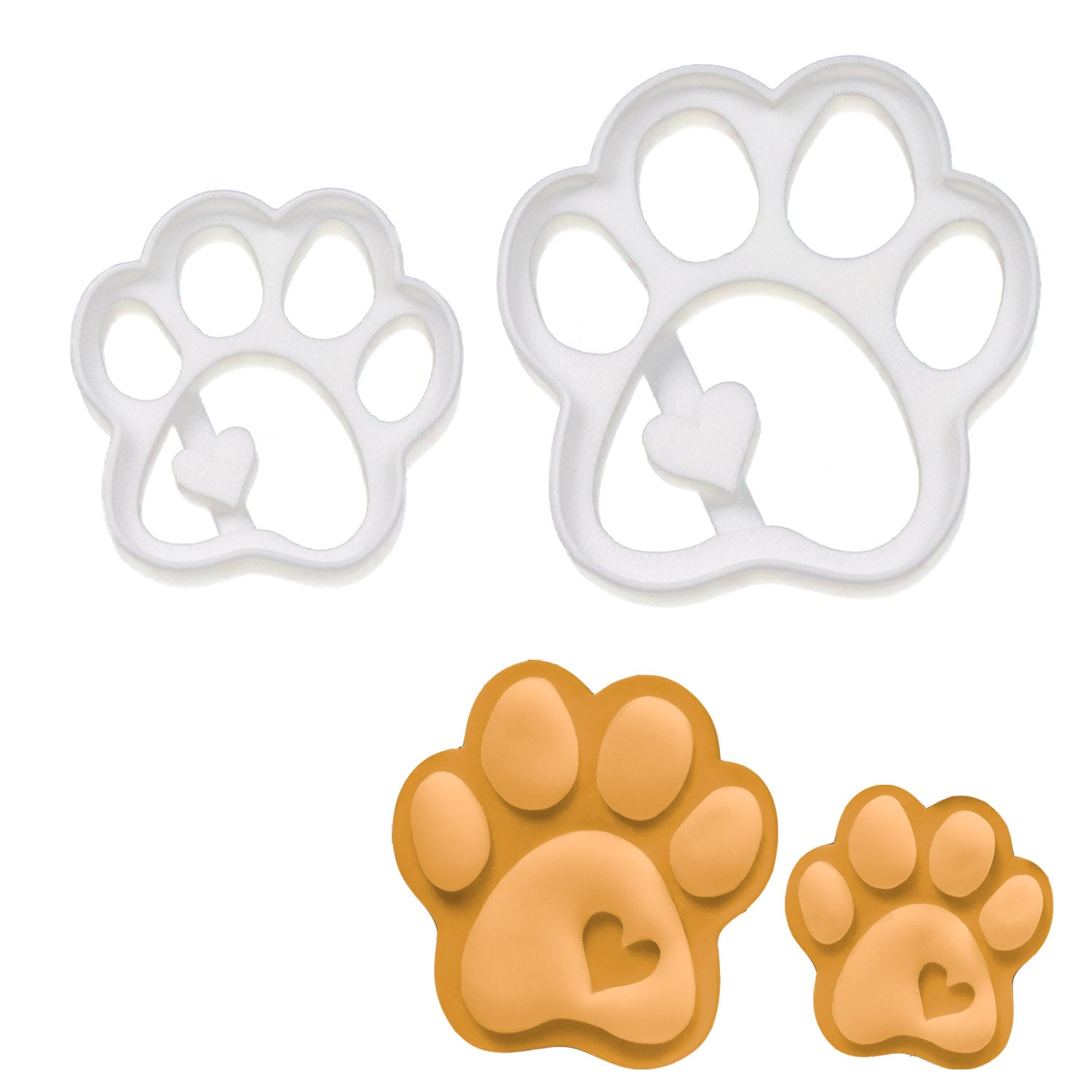 set of 2 cute paw cookie cutters