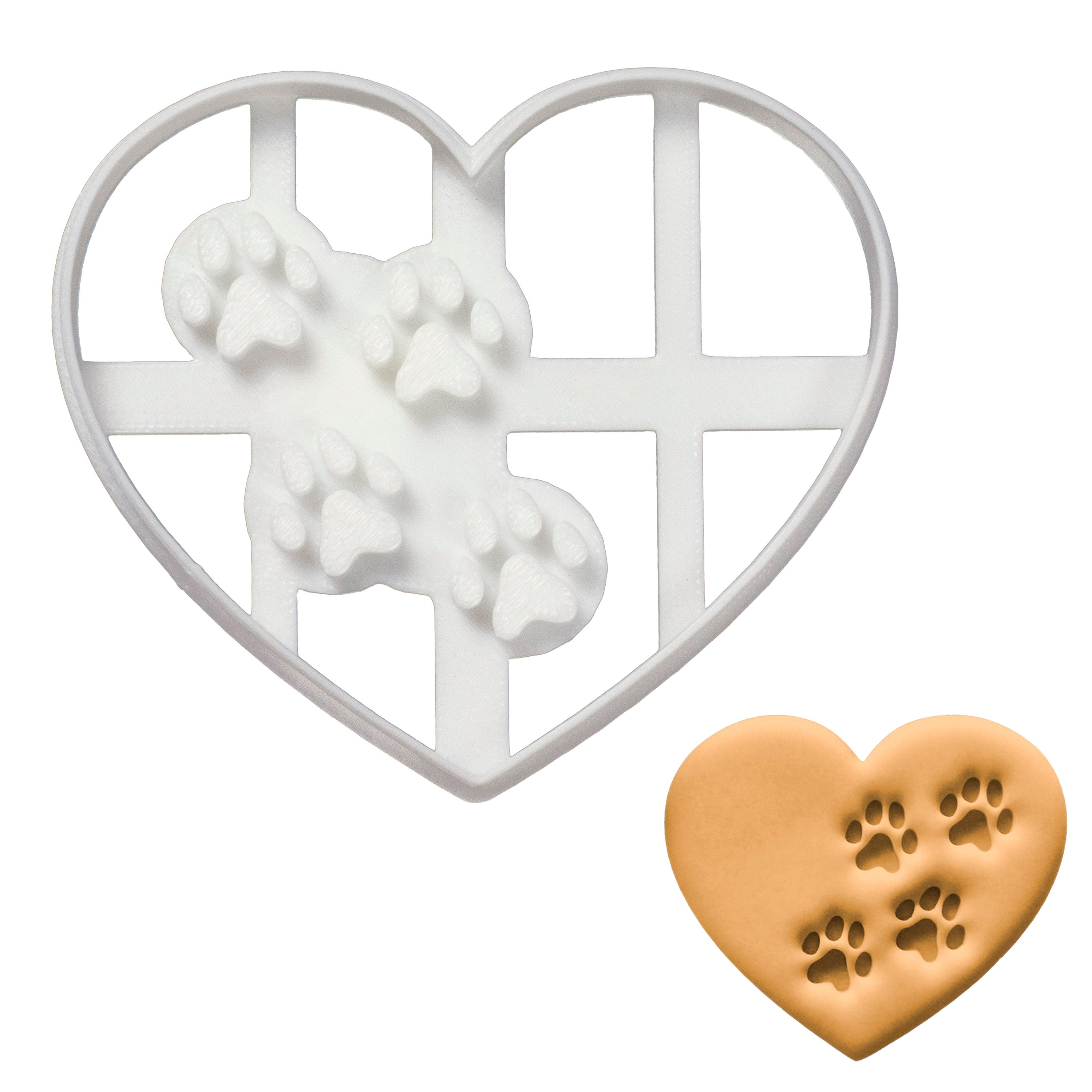 Heart with Paw prints cookie cutter