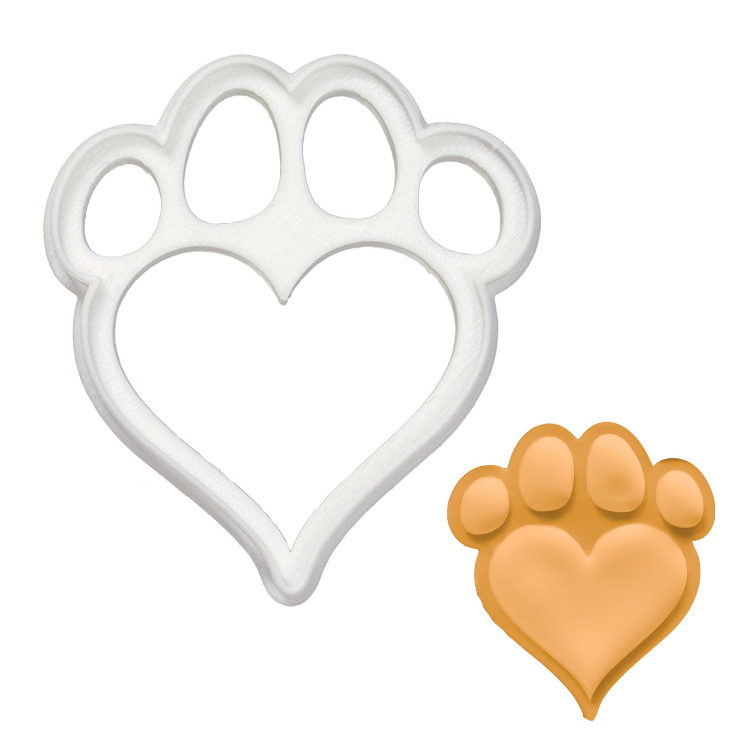 dog paw with heart shaped pad cookie cutter