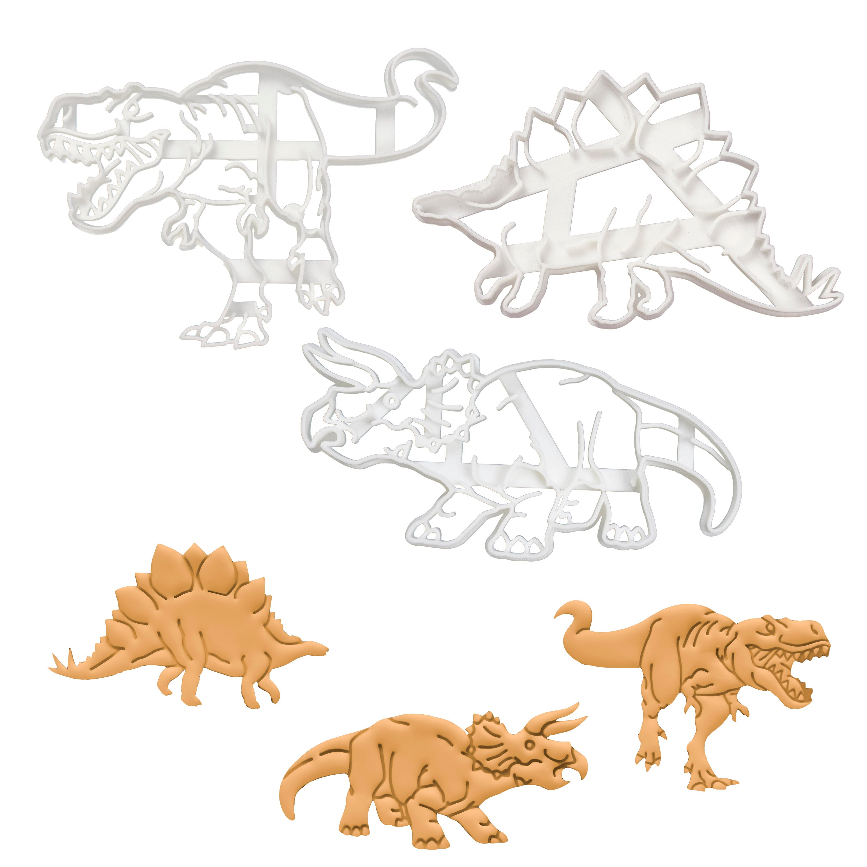 set of 3 dinosaur cookie cutters - t-rex, triceratops, stegosaurus