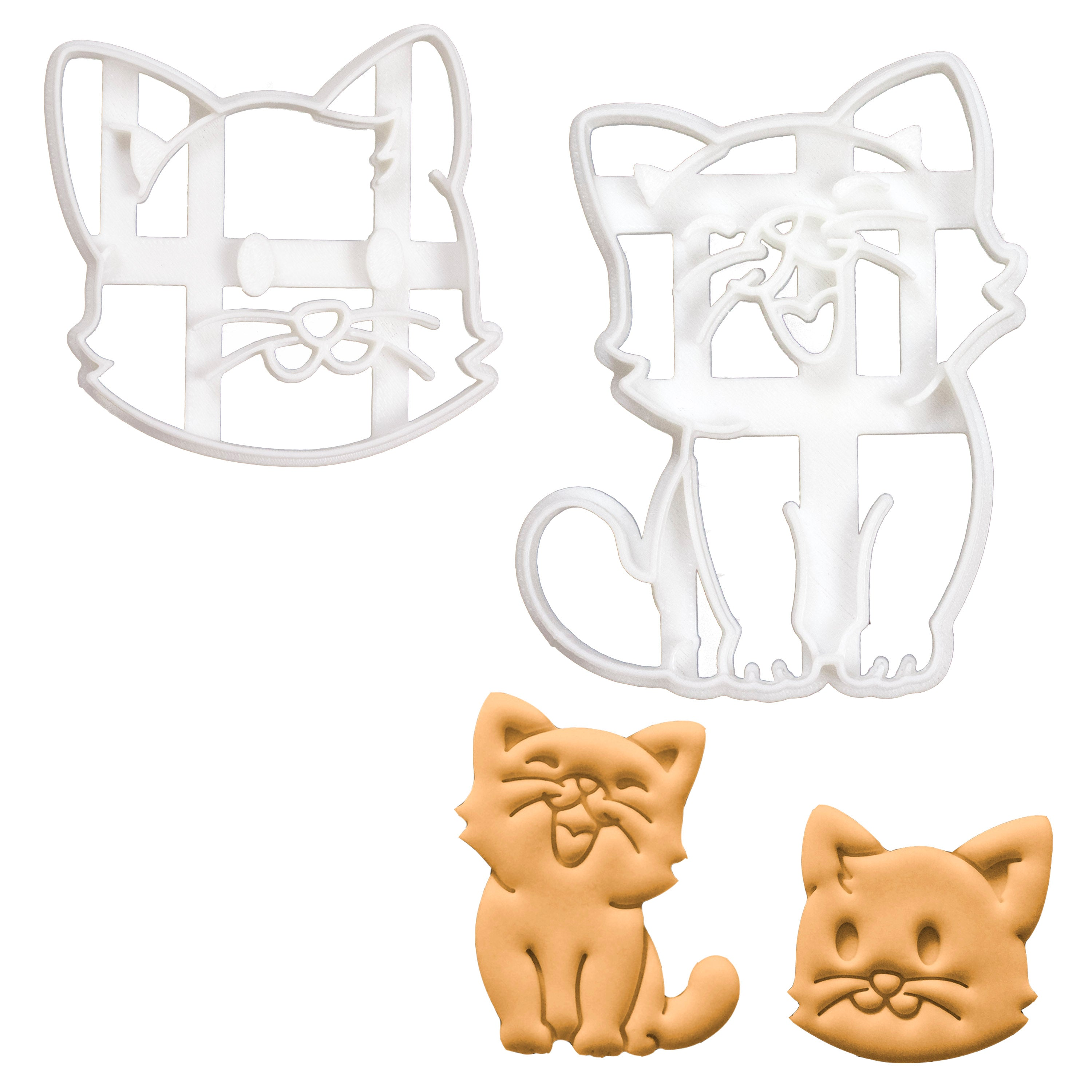 happy cat and cat face cookie cutter