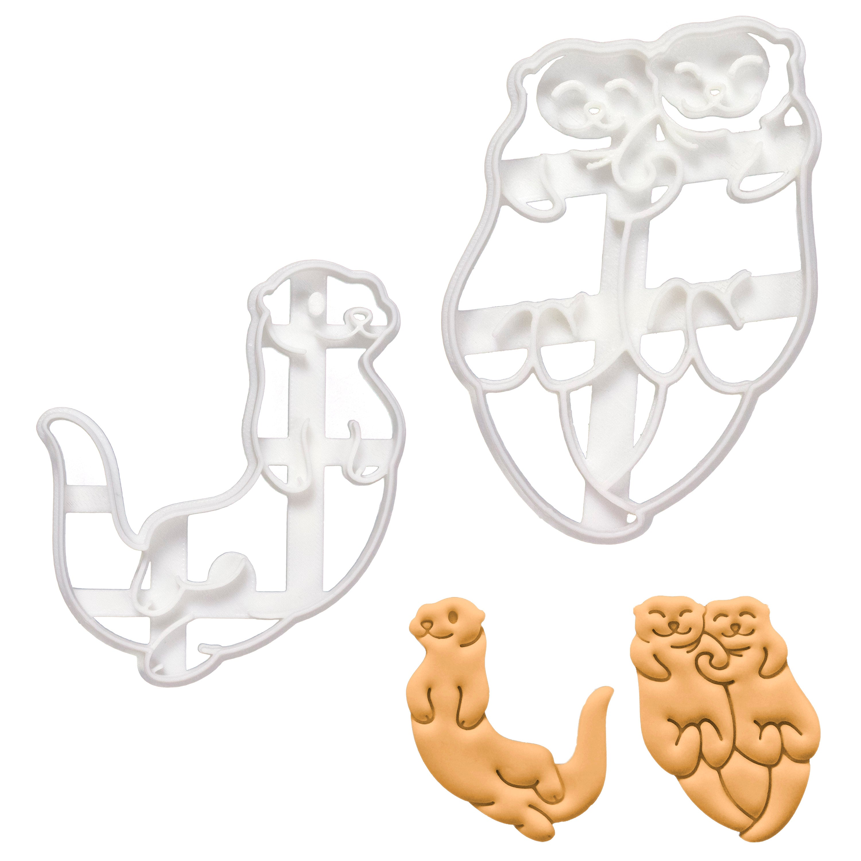 set of 2 swimming otters cookie cutters