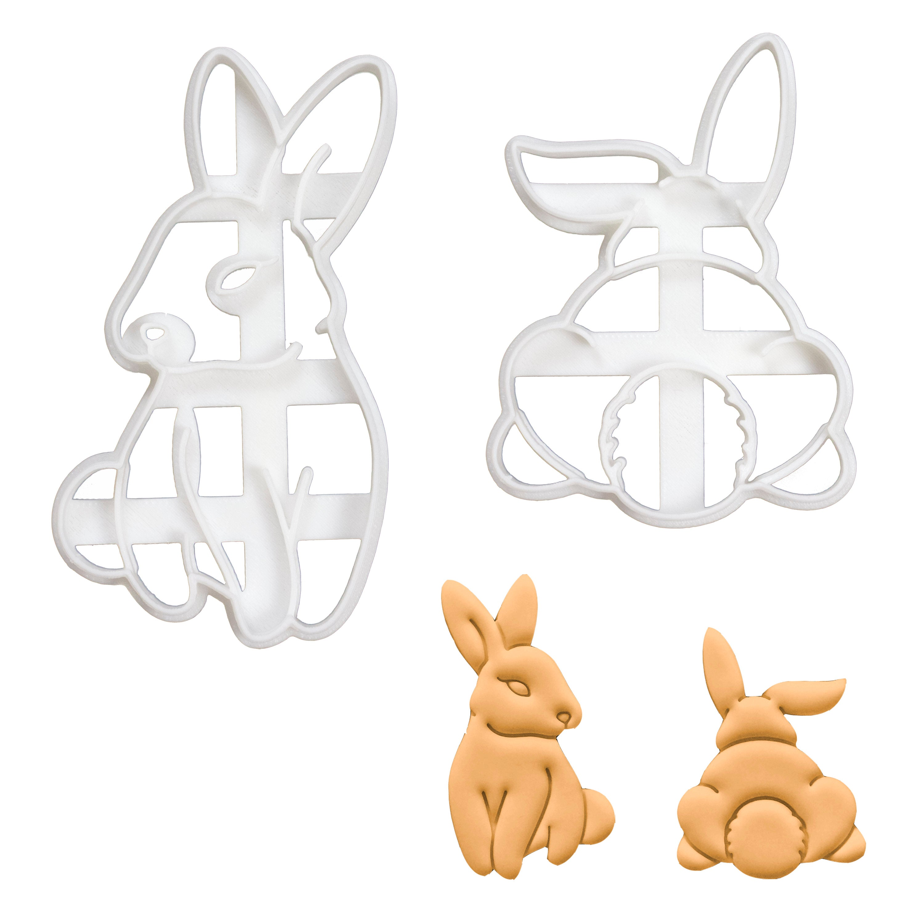 set of 2 bunny cookie cutters