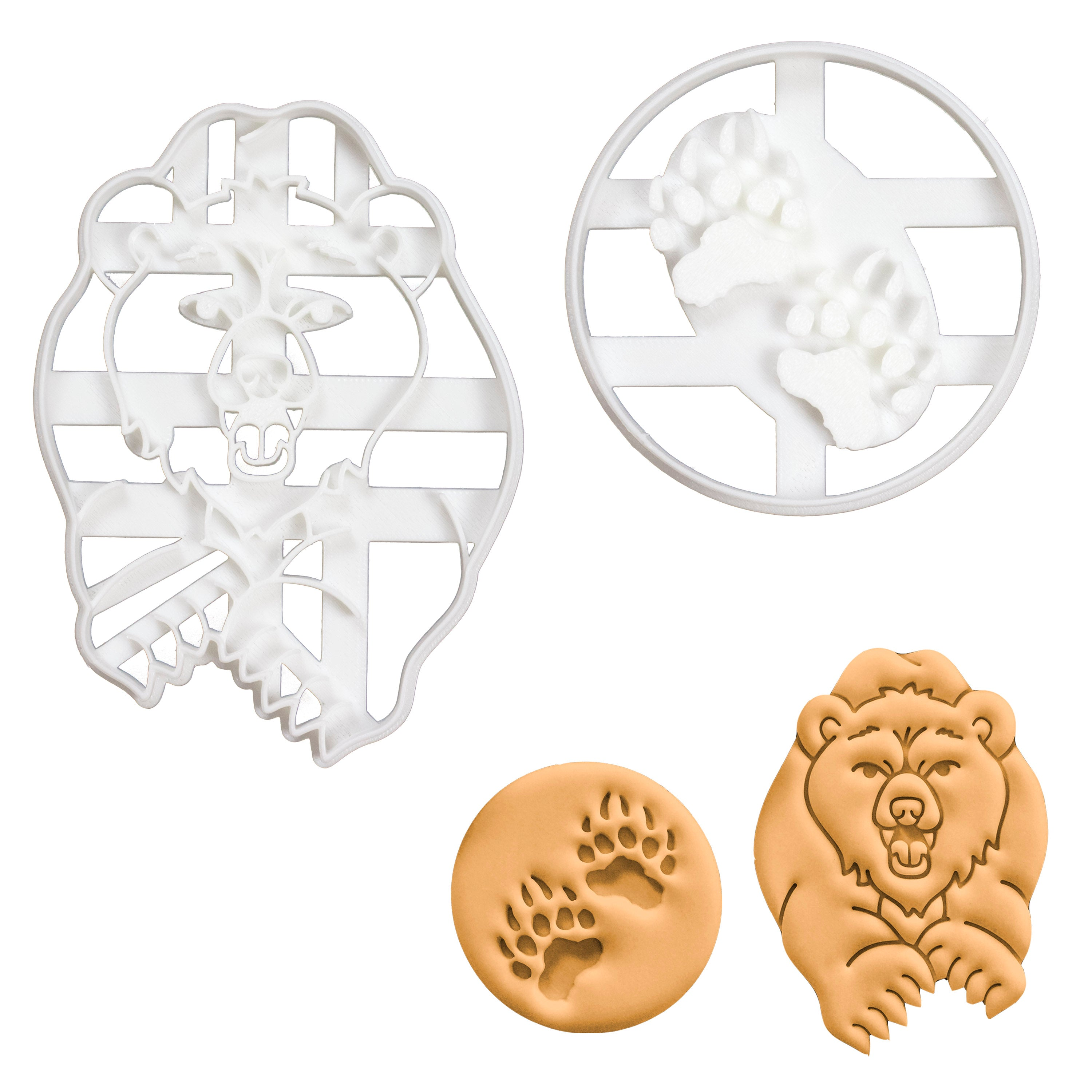 set of 2 bear and bear paw prints cookie cutters