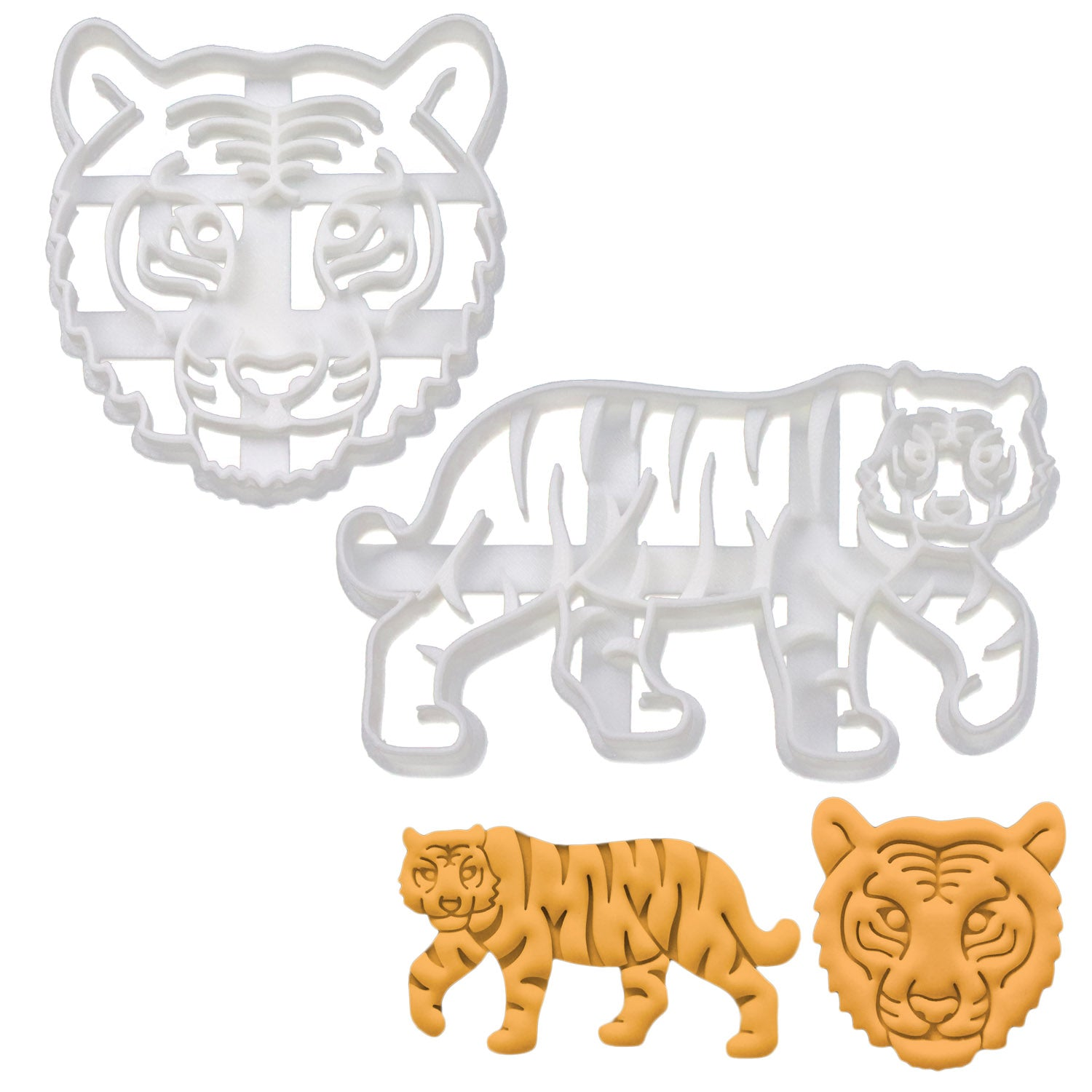 Set of 2 Tiger Cookie Cutters: Face and Body