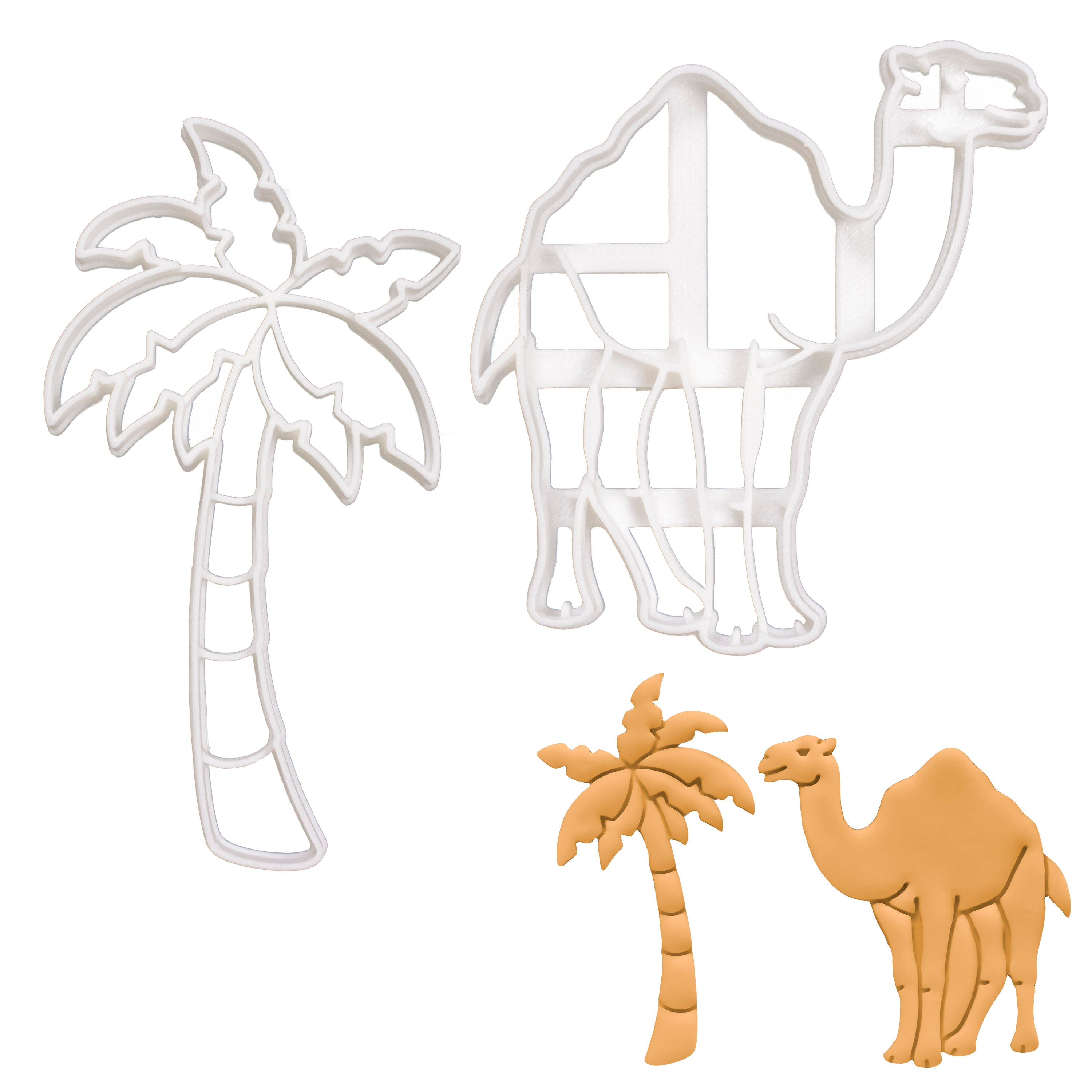 palm tree and camel cookie cutters