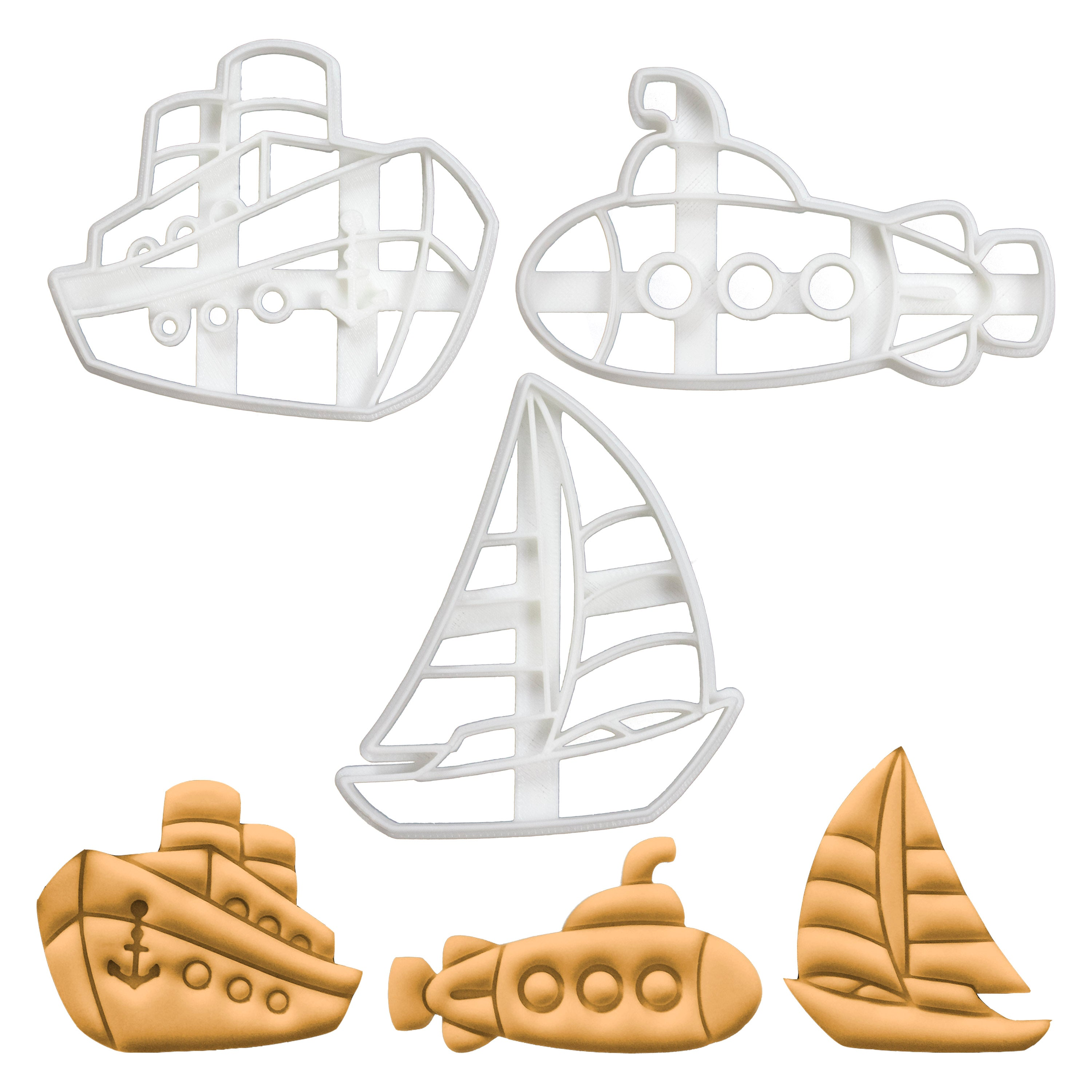 Ferry Ship, Submarine, & Sail Boat Cookie Cutters