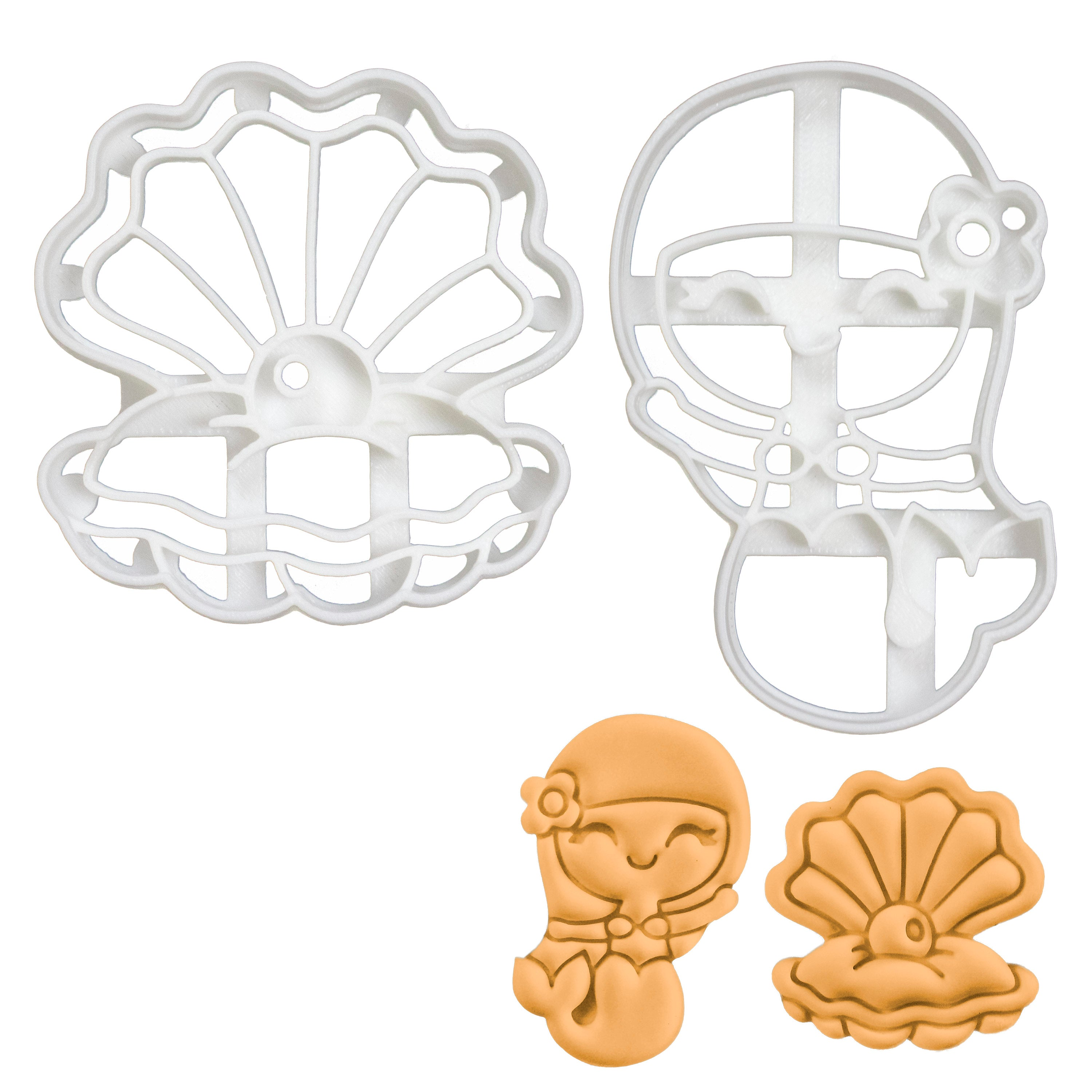 Mermaid and Pearl Oyster Cookie Cutters
