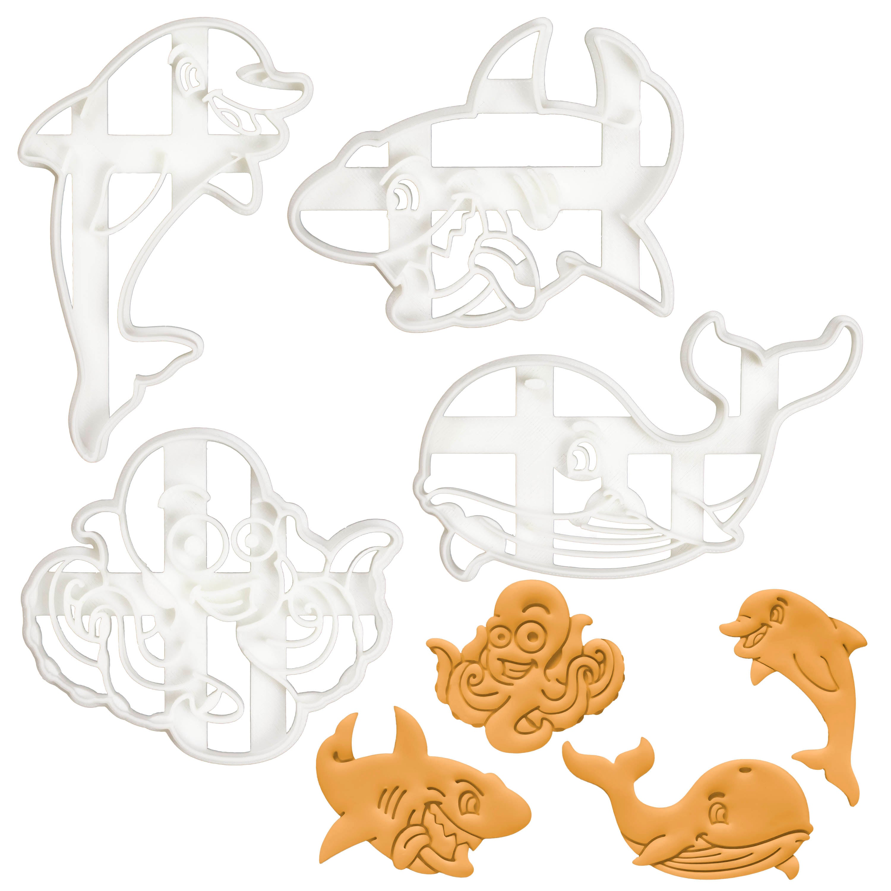 set of 4 nautical cookie cutters - dolphin, octopus, shark and whale