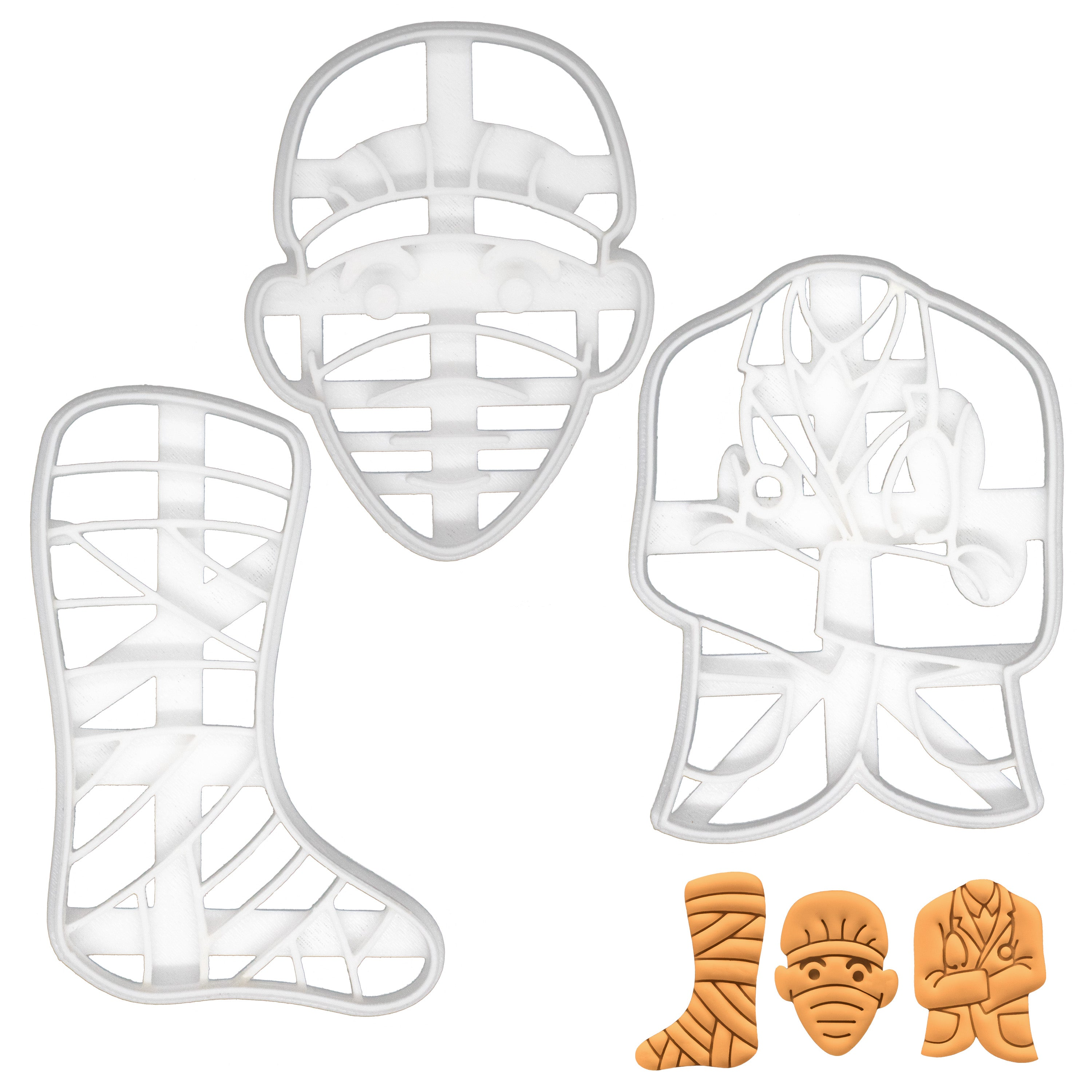 set of 3 doctor themed cookie cutters - surgeon face, leg cast, doctor coat