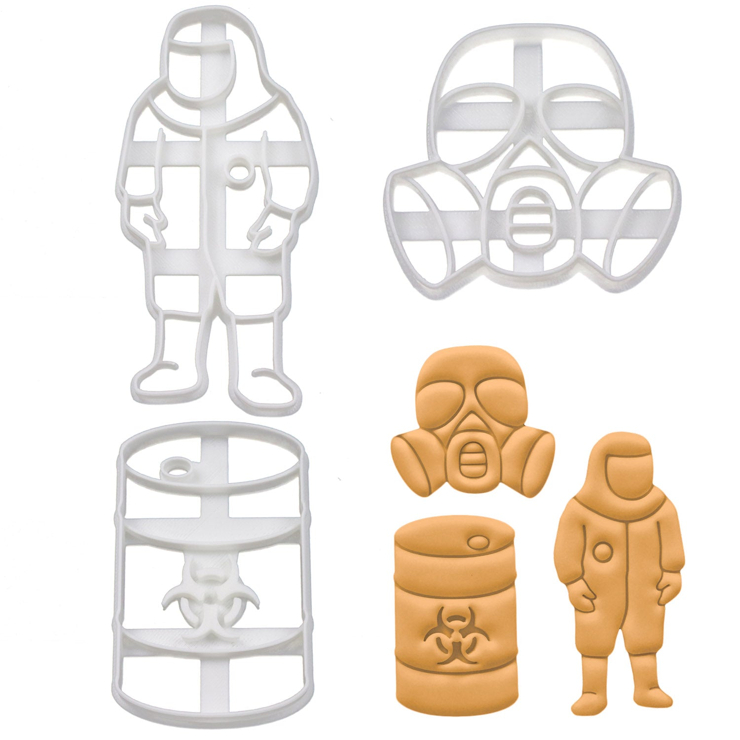 Set of 3 Cookie Cutters: Biohazard Suit, Gas Mask, & Waste Container