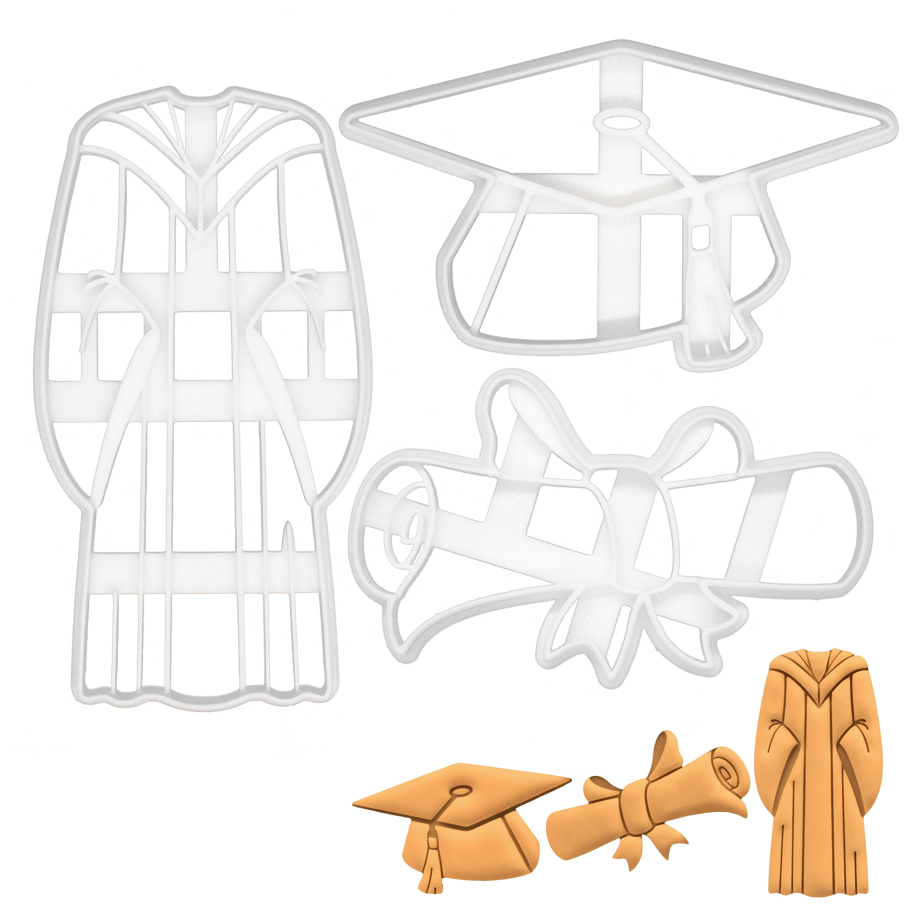 set of 3 graduation theme cookie cutters