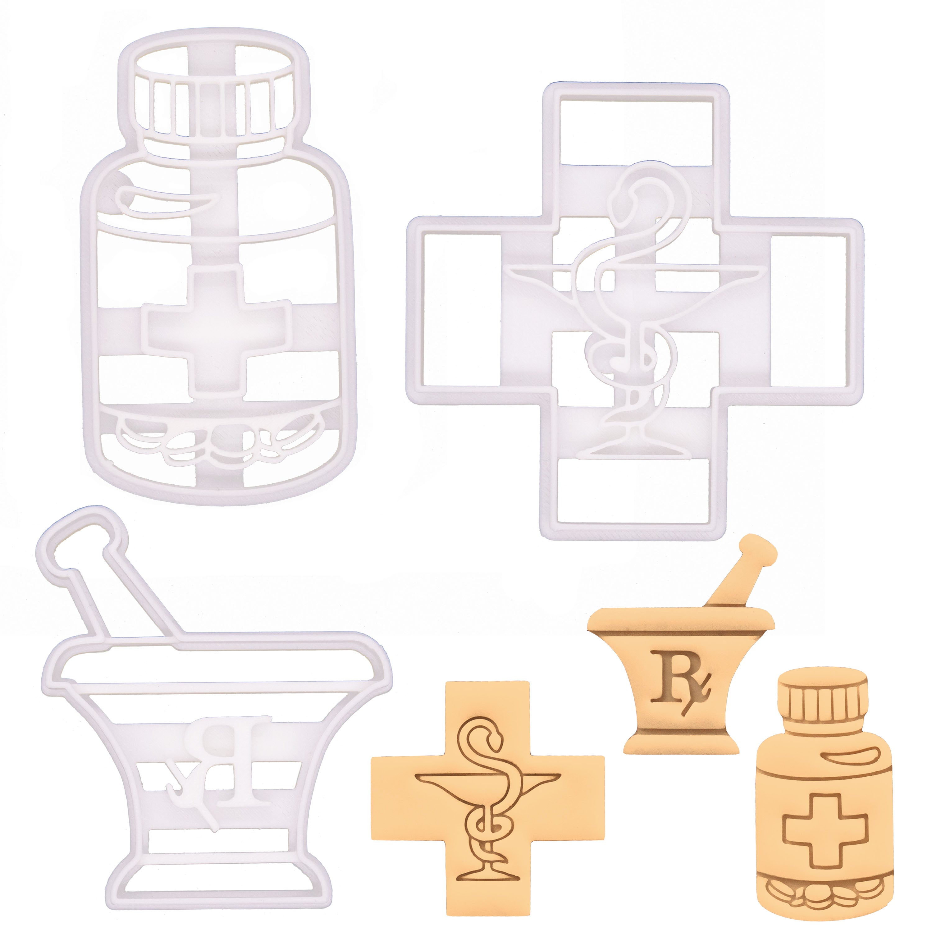 set of 3 pharmacy themed cookie cutters, featuring pharmacy logo, pill bottle, and pestle and mortar