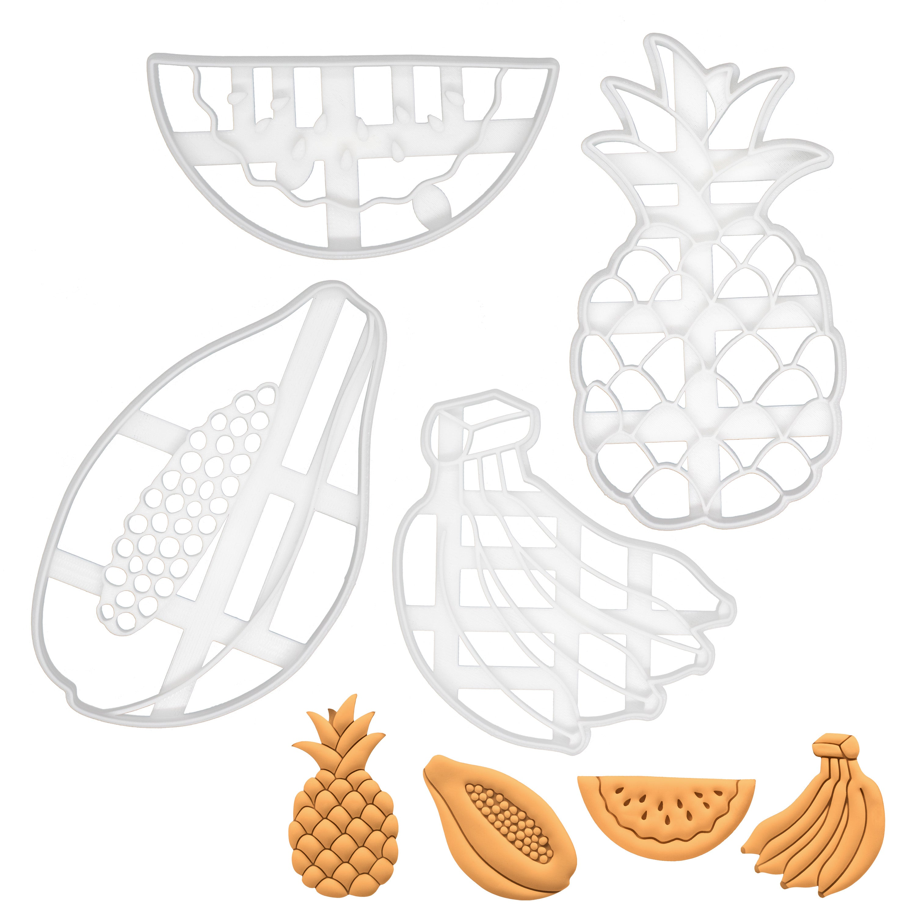 set of 4 tropical fruits cookie cutters, featuring a banana, a papaya, a watermelon and a pineapple