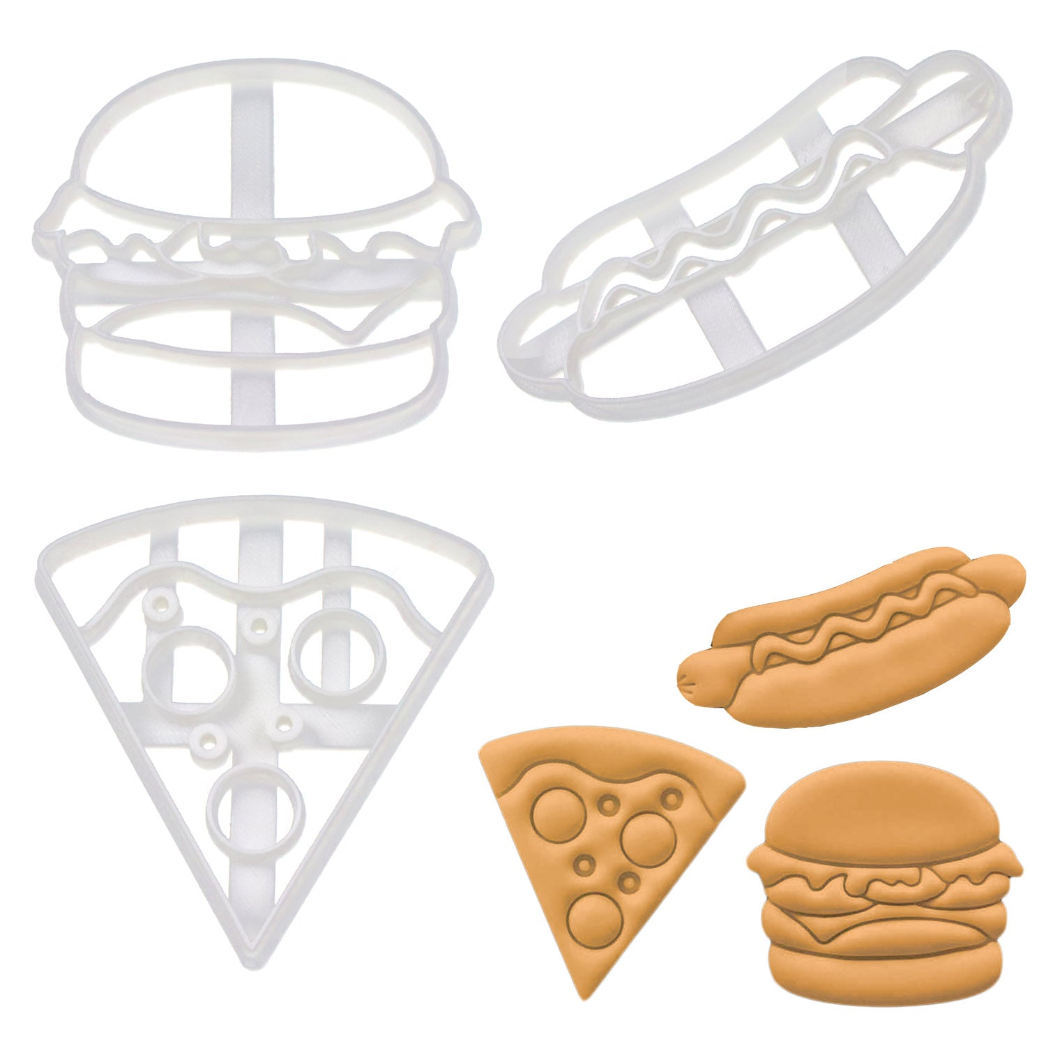 Set of 3 Cookie Cutters: Hot Dog, Pizza, & Hamburger