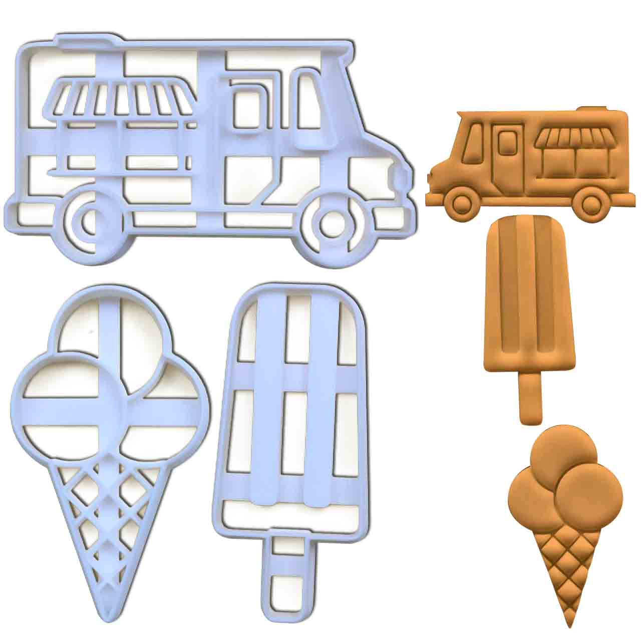 Ice Cream Cone, Ice Lolly and Ice Cream Truck Cookie Cutters