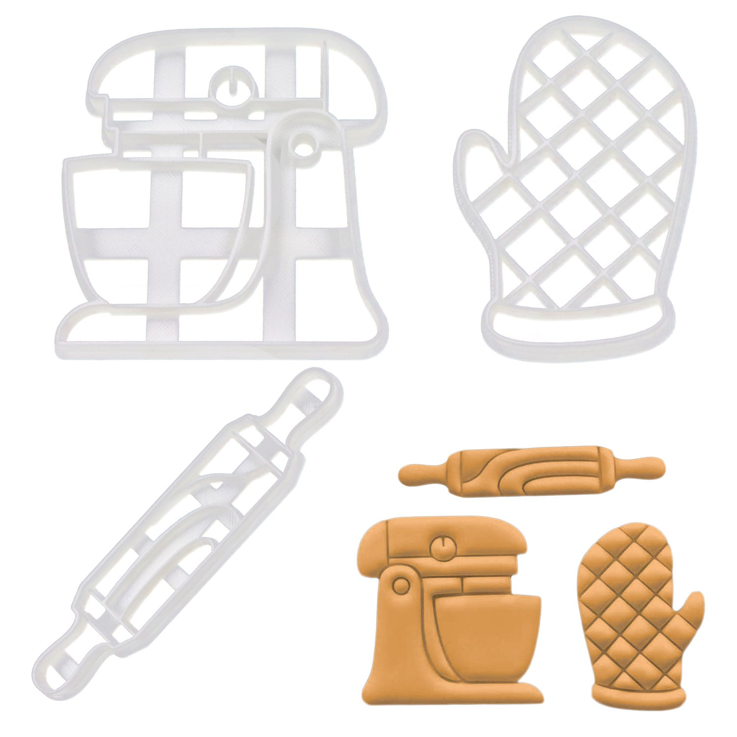 Set of 3 Baking themed Cookie Cutters: Rolling Pin, Oven Glove, & Stand Mixer