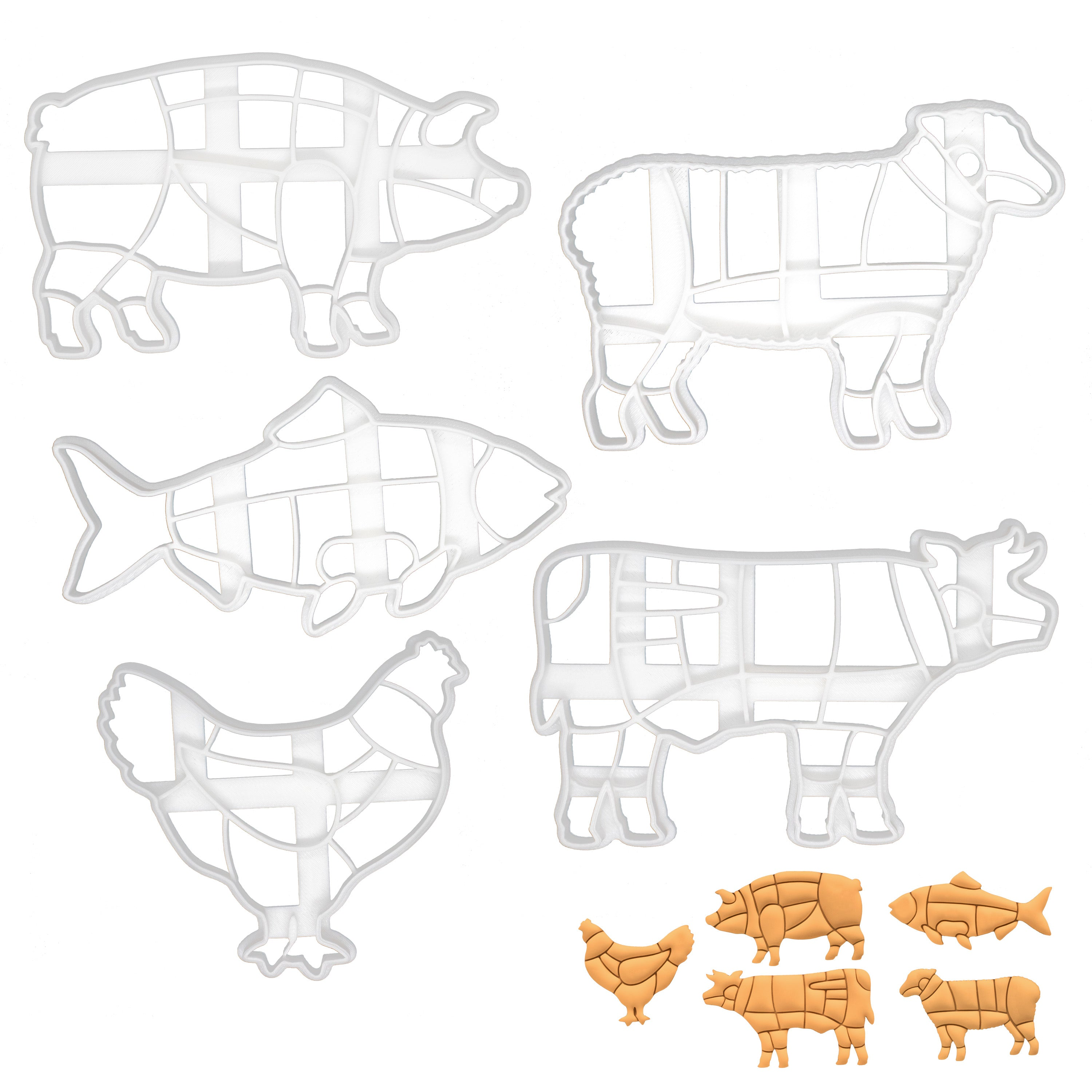 set of 5 butcher chart cookie cutters: pig, cow, lamb, fish, chicken