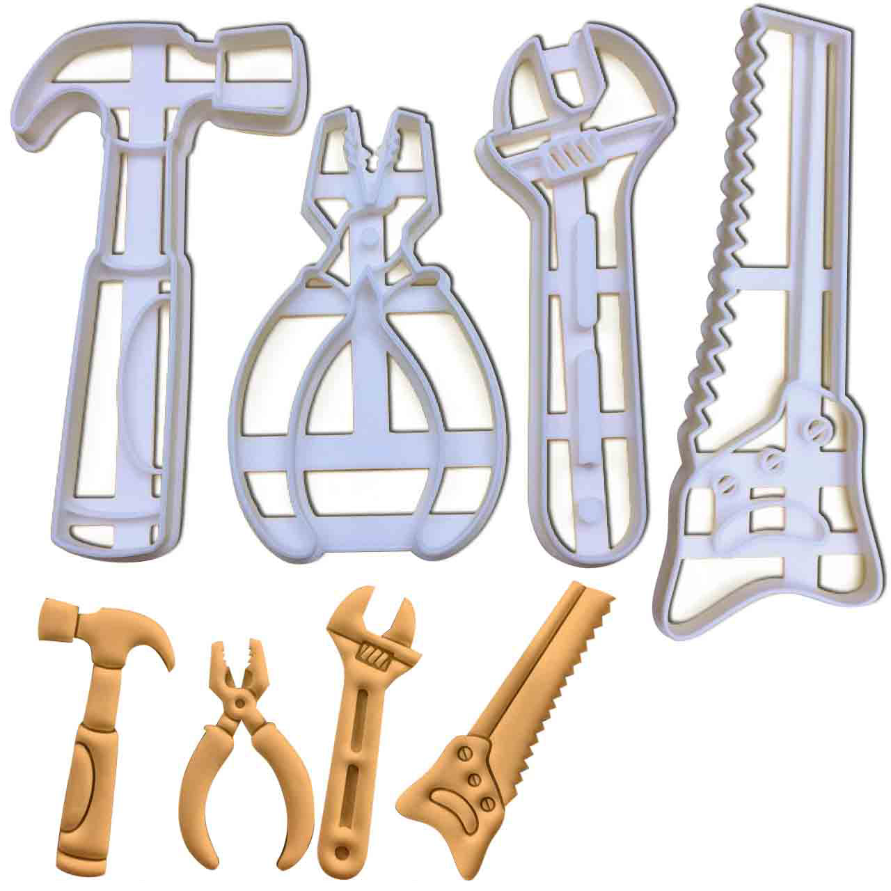 set of 4 hand tools cookie cutters, featuring a hammer, a hand saw, a wrench and a pair of pliers