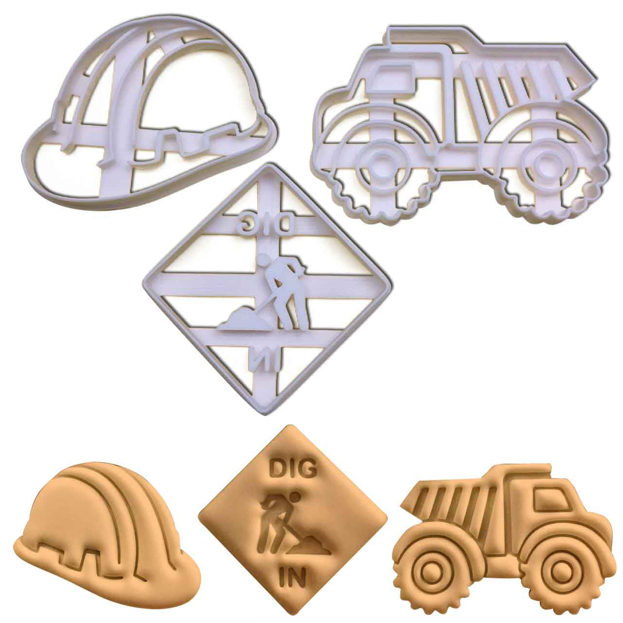 Set of construction themed cookie cutters, including a safety helmet, a dump truck and a dig in signage
