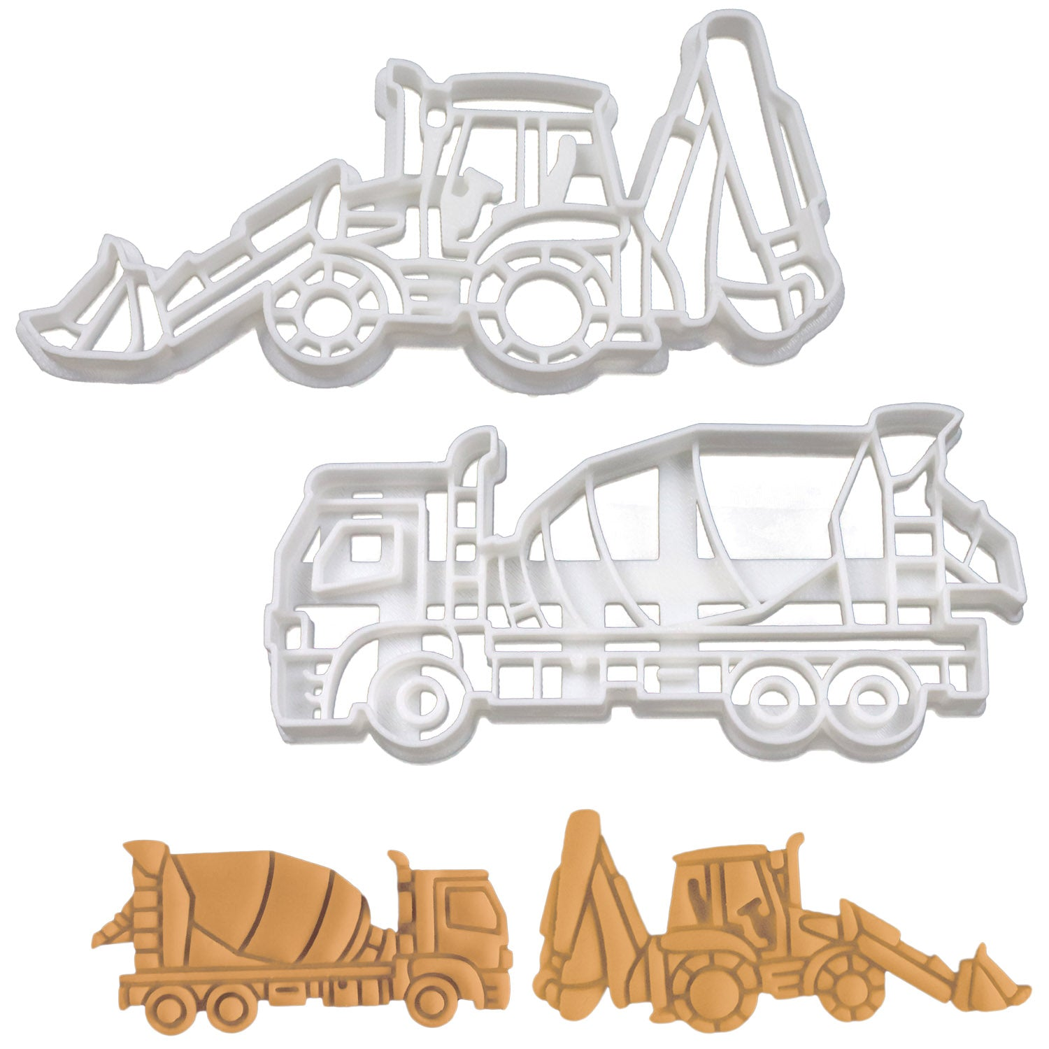 SET of 2 Cookie Cutters: Cement Mixer Truck and Excavator