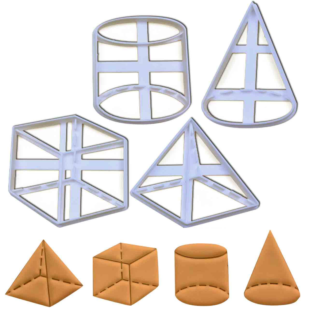 set of 4 3D geometric shape cookie cutters, featuring a cone, cube, cylinder and a pyramid