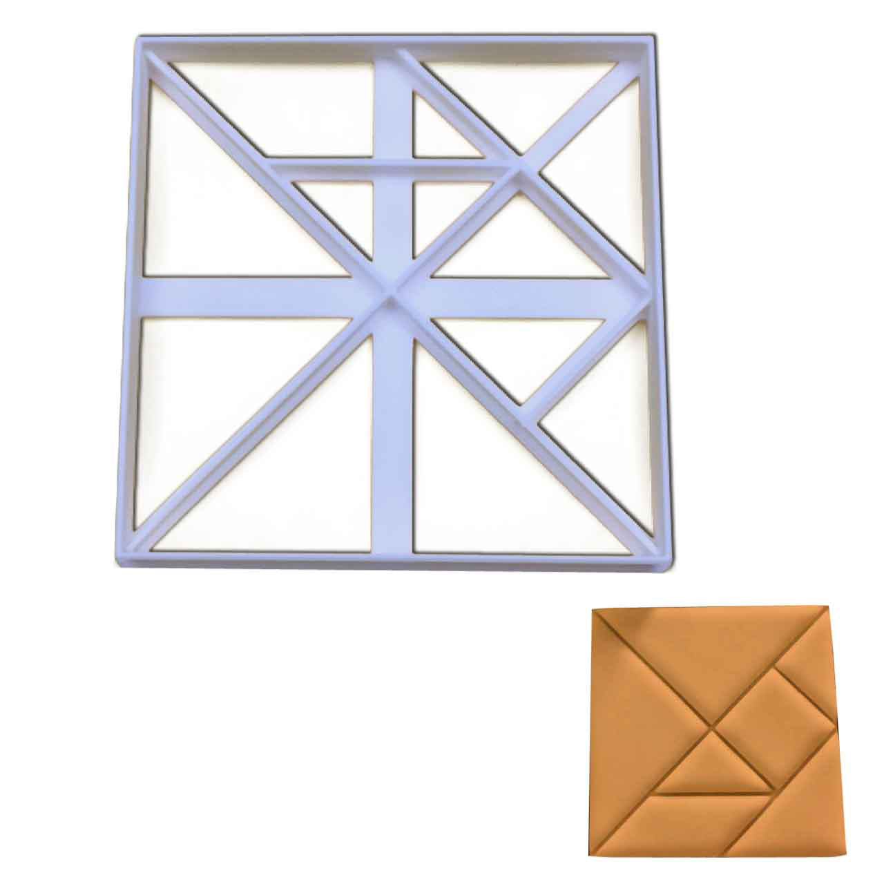 square tangram cookie cutter pressed on fondant