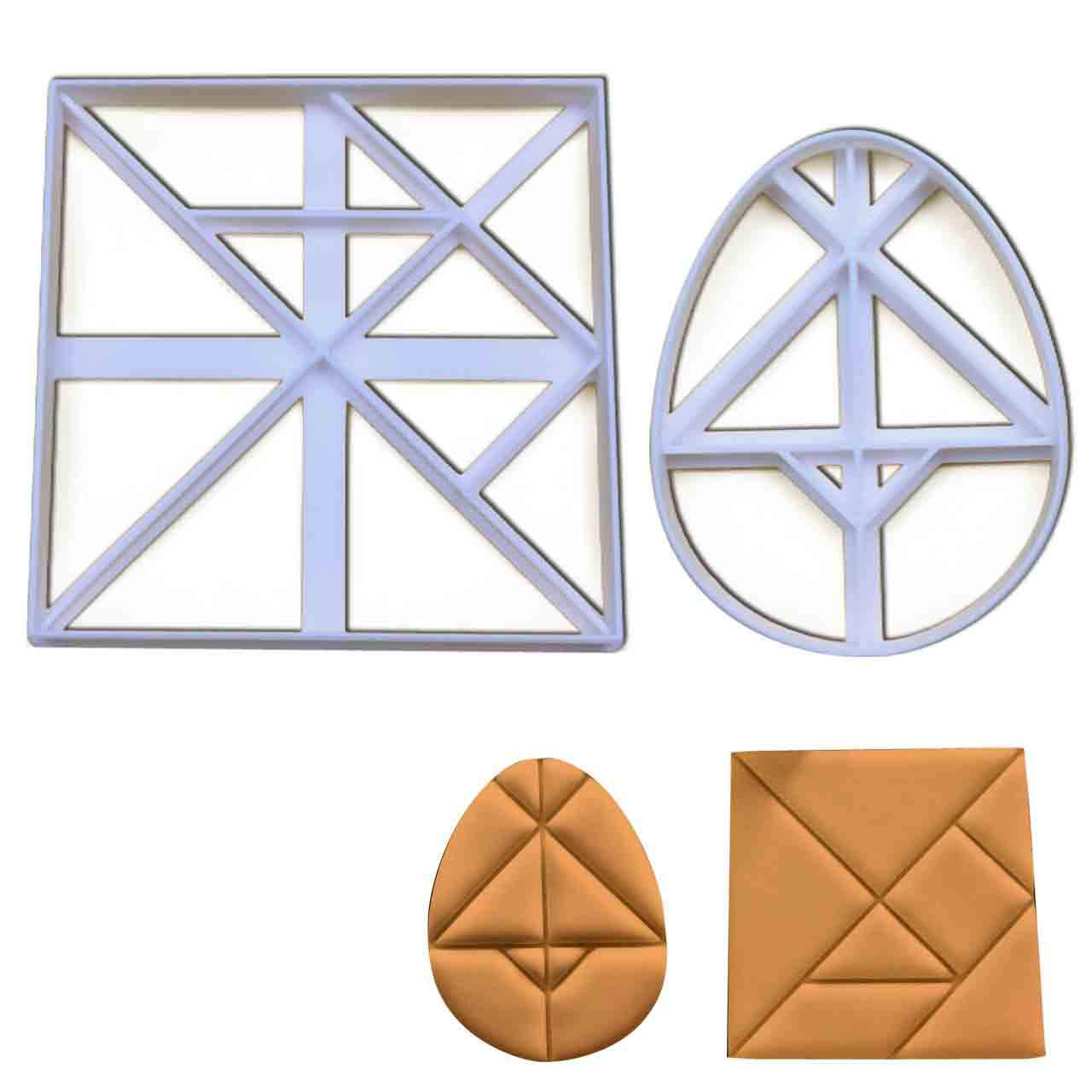 set of 2 tangram cookie cutters: featuring an egg of columbus and a square tangram design