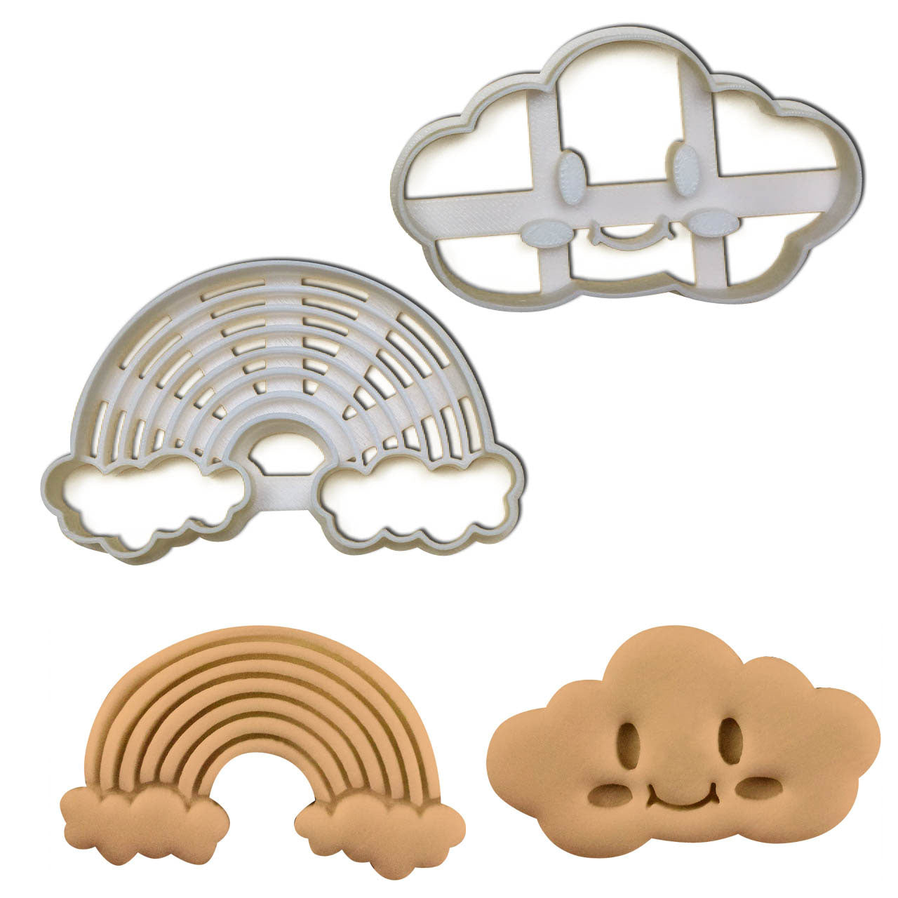 set of rainbow and smiley cloud cookie cutters