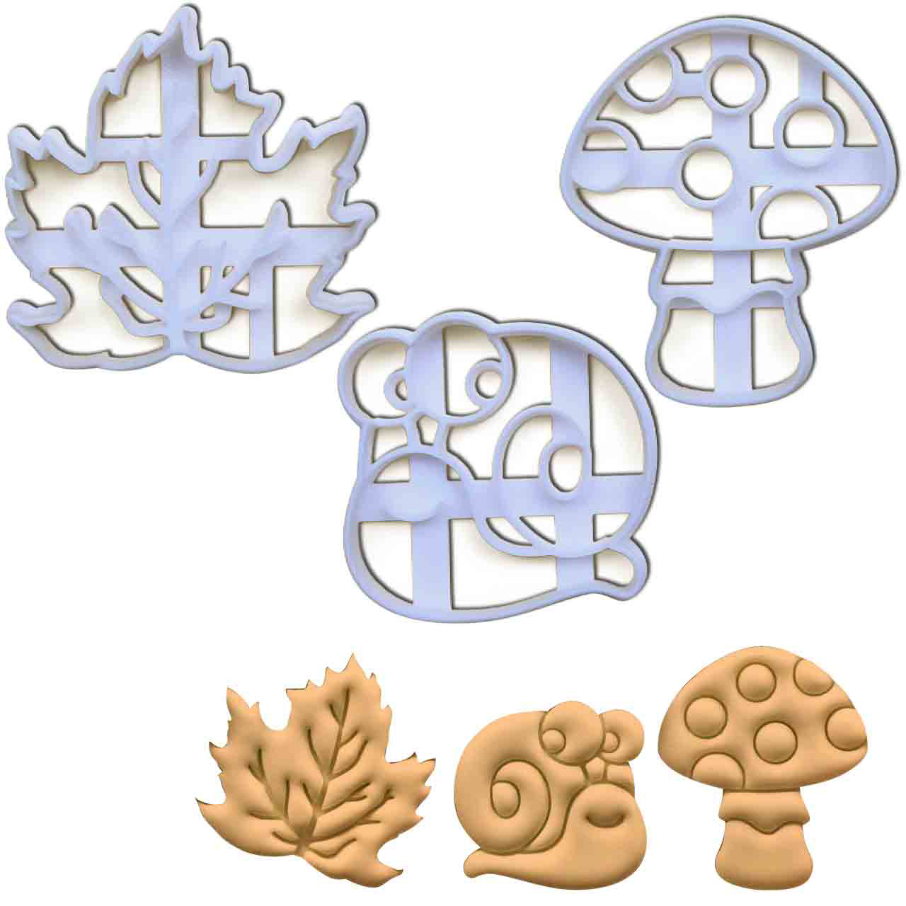 set of 3 autumn themed cookie cutters - snail, maple leaf, and mushroom