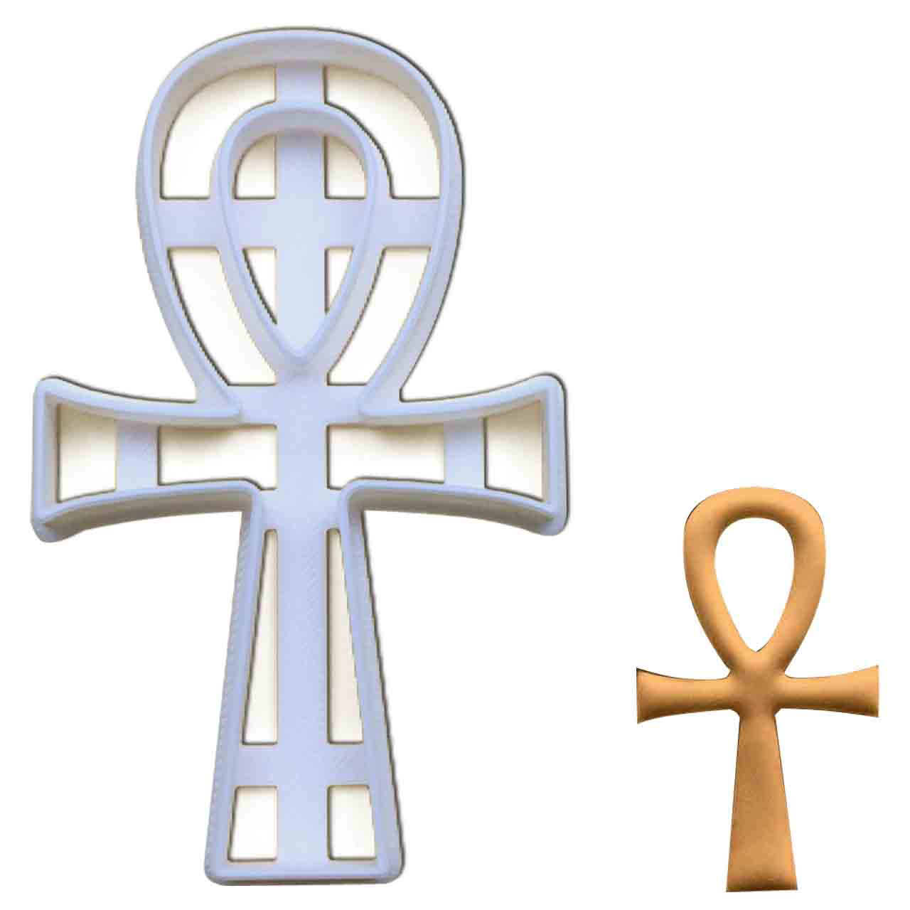 Egyptian Ankh cookie cutter pressed on fondant