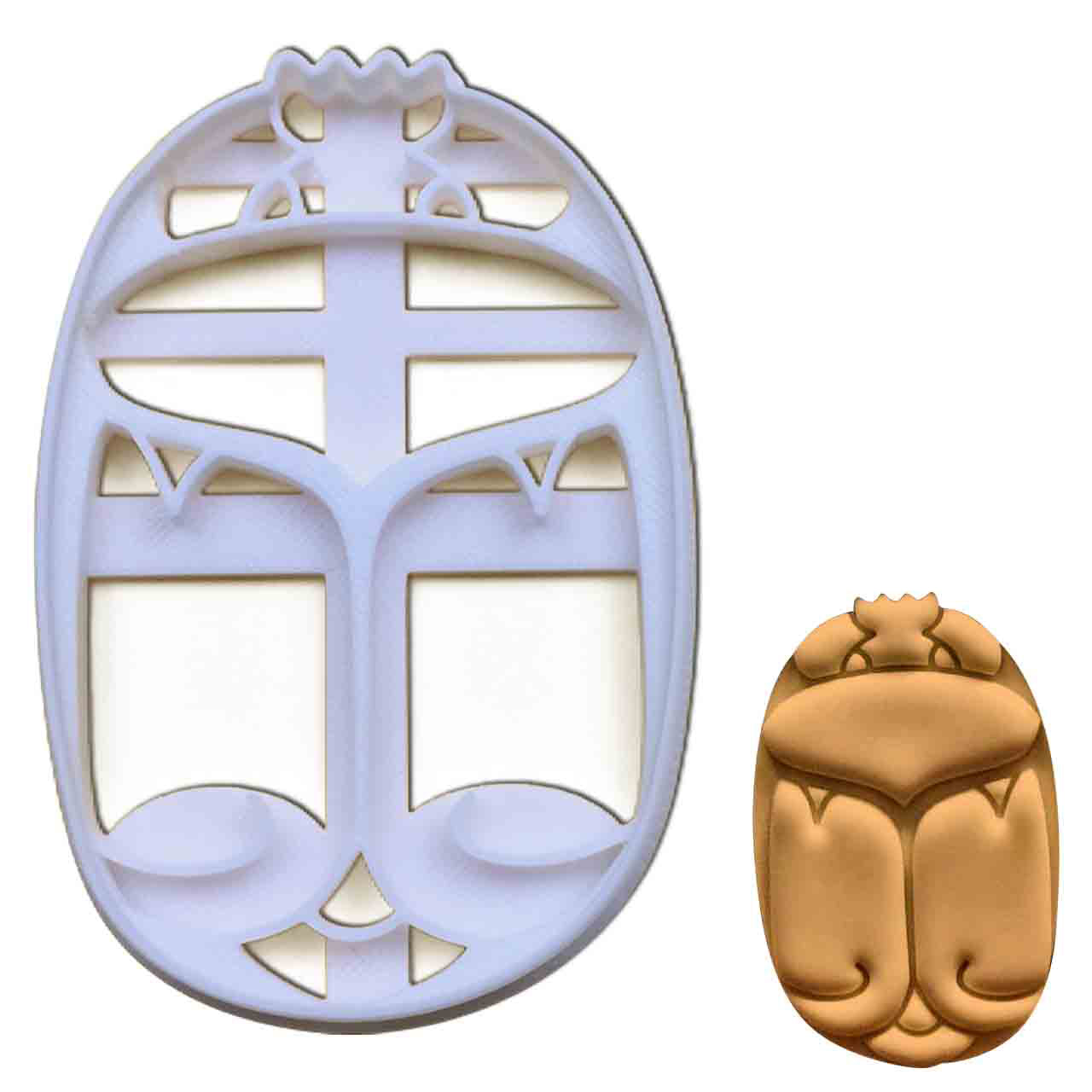Egyptian Scarab Beetle cookie cutter pressed on fondant