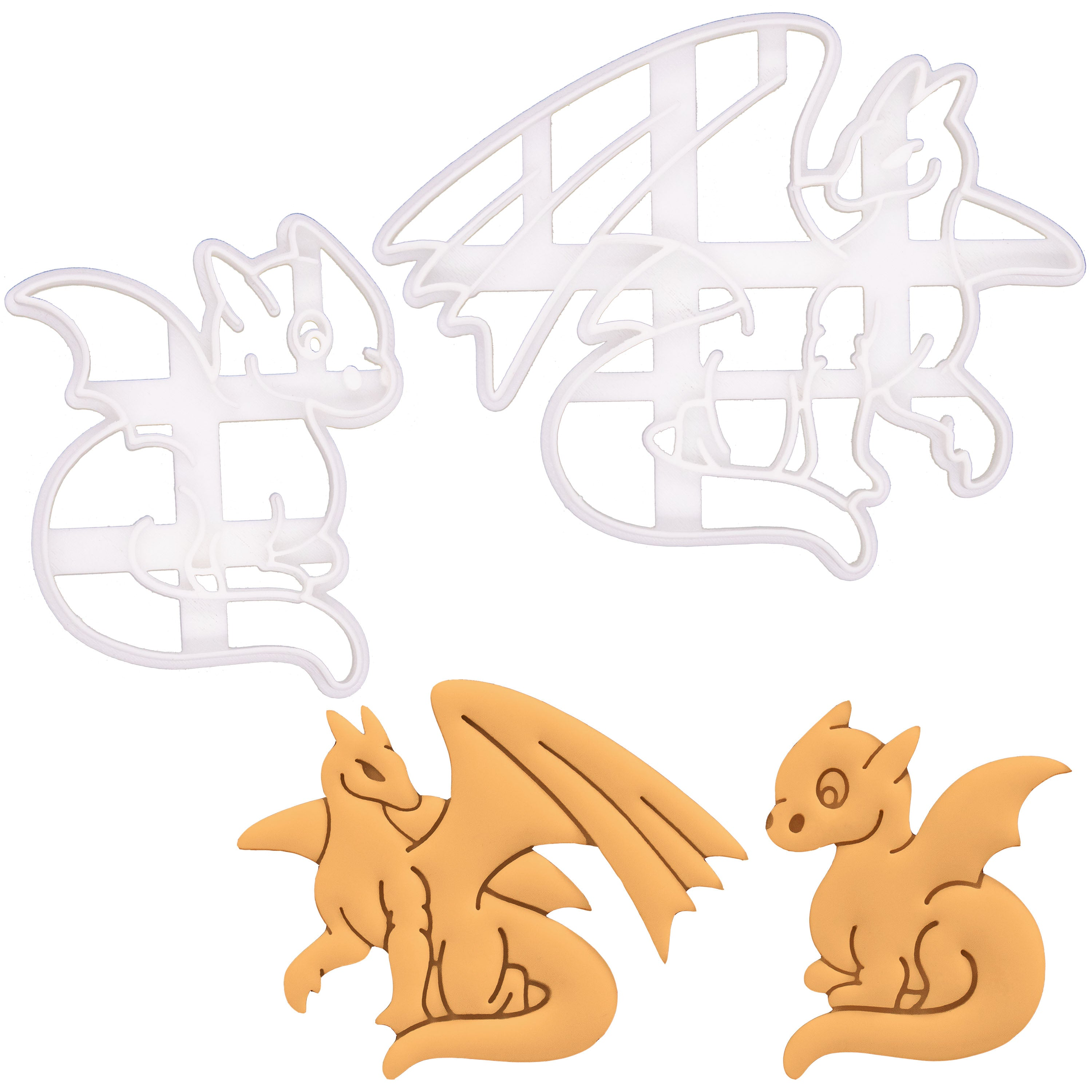 Set of 2 Cookie Cutters: Adult Dragon & Baby Dragon