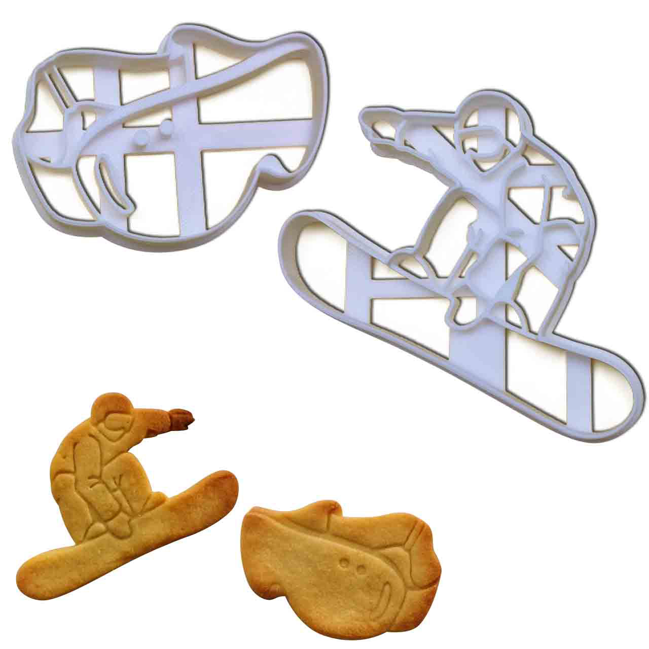 set of 2 snowboarding cookie cutters, featuring a snowboarder and a snowboard goggles