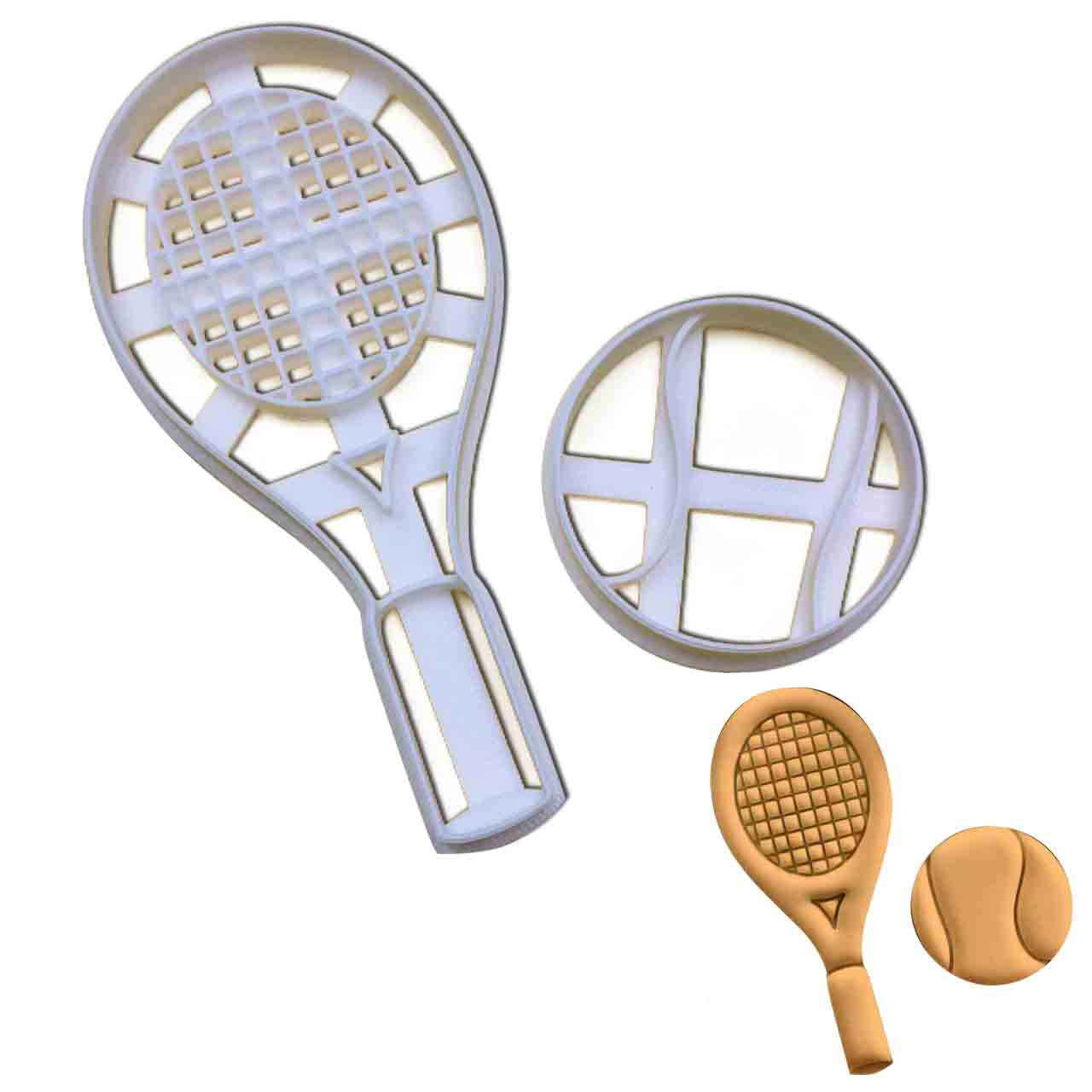 set of tennis racket and tennis ball cookie cutters pressed on fondant