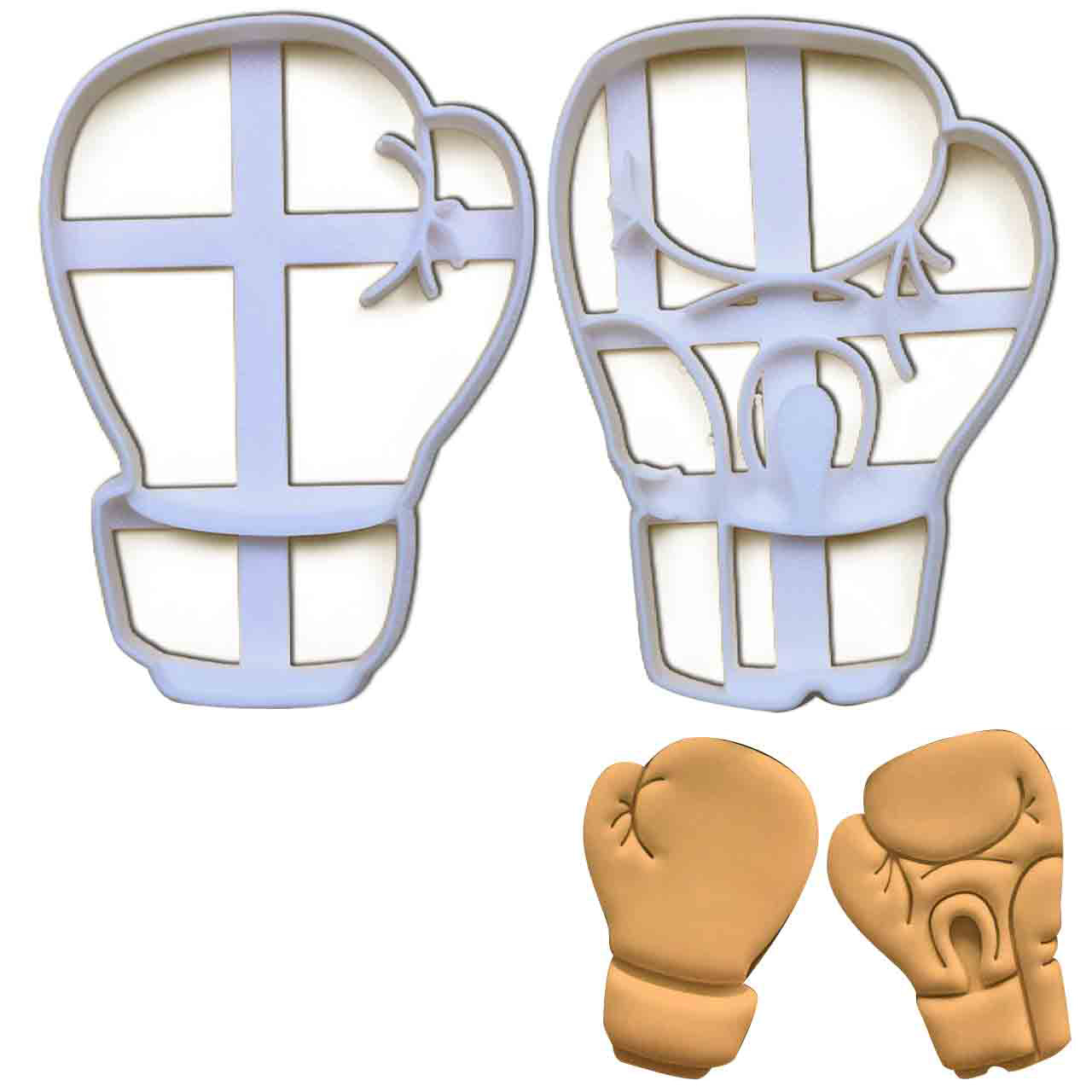 set of 2 boxing gloves cookie cutters, featuring front view and palm view