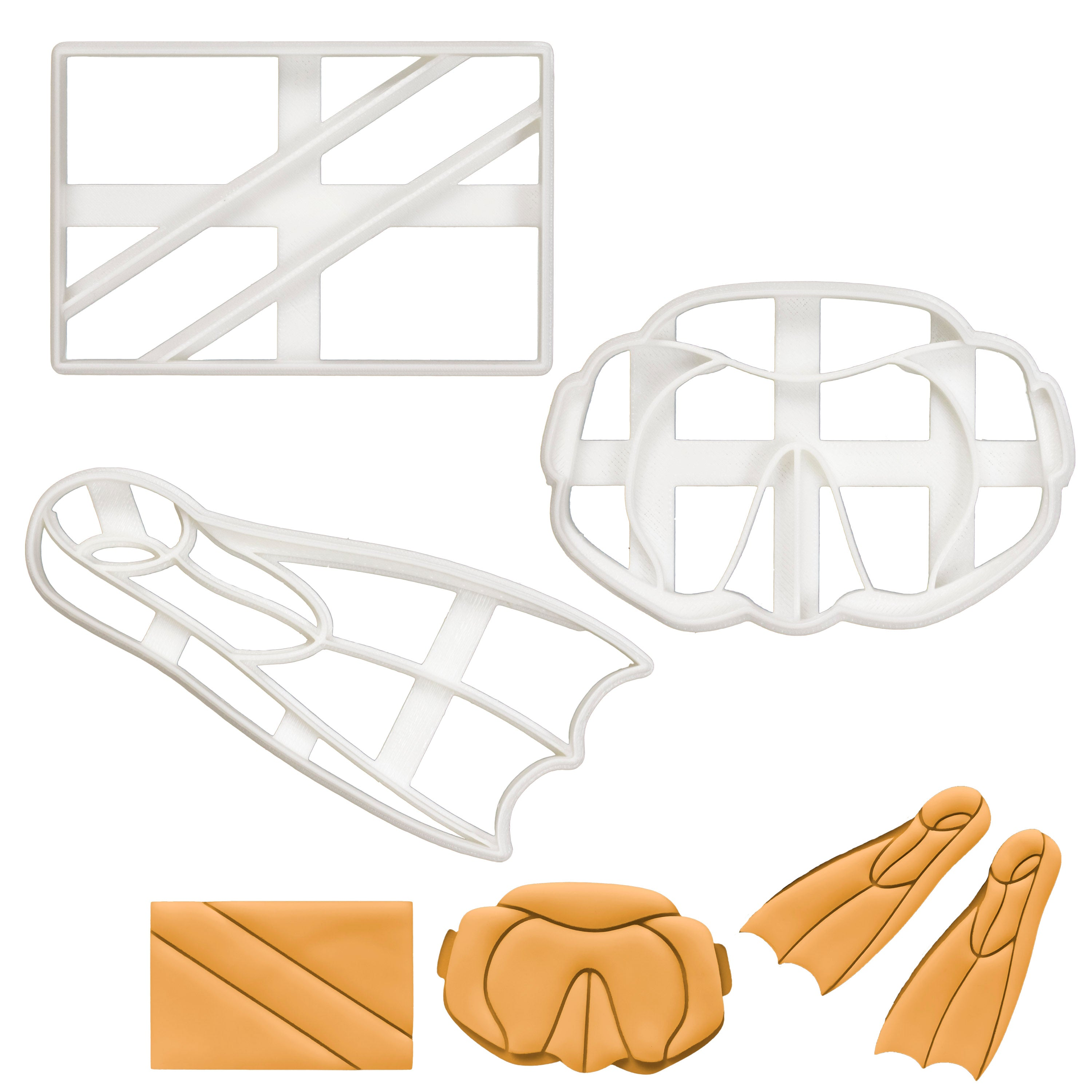 Scuba Diving Flag, Goggles & Flippers Cookie Cutters