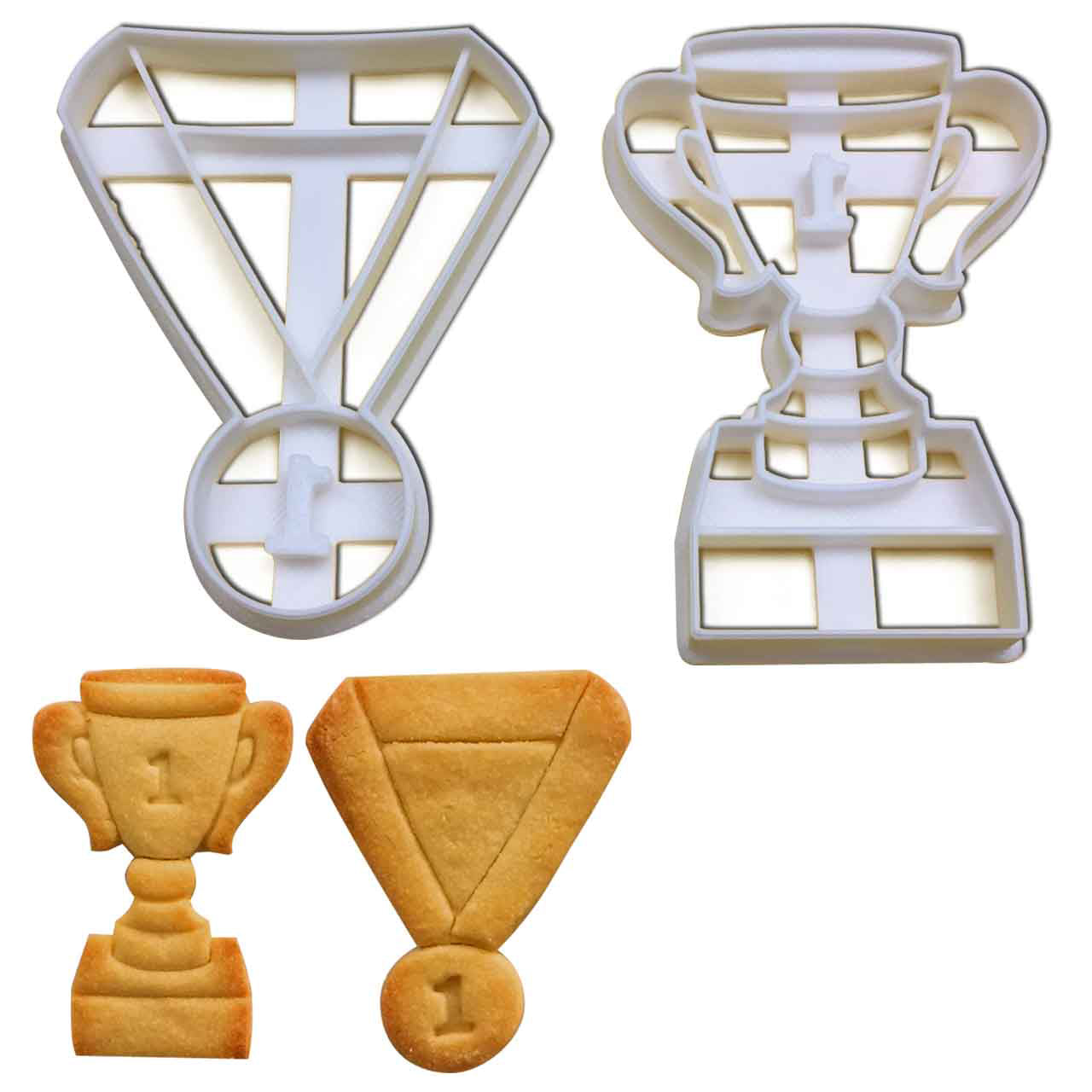 set of 2 trophy and medal cookie cutters