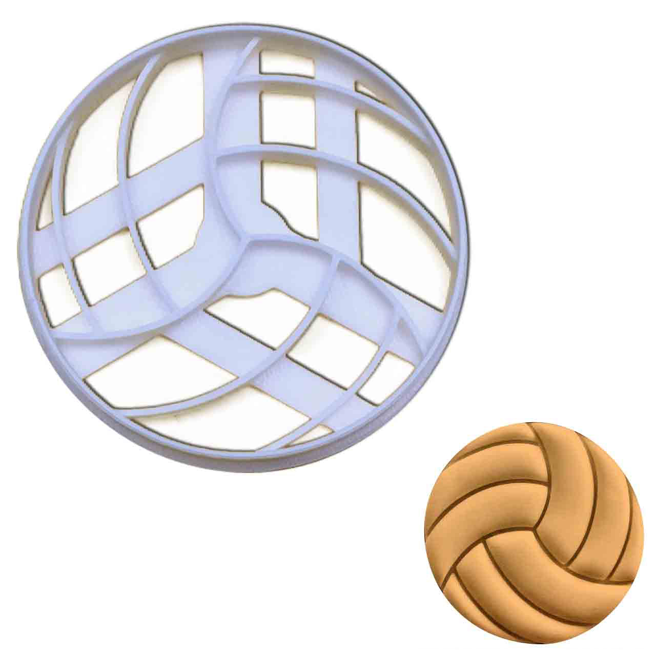 volleyball cookie cutter pressed on fondant