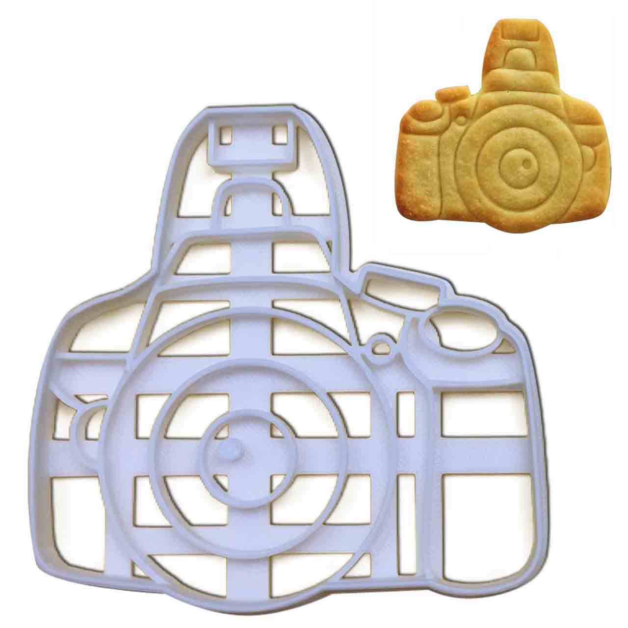 DSLR camera cookie cutter pressed on fondant