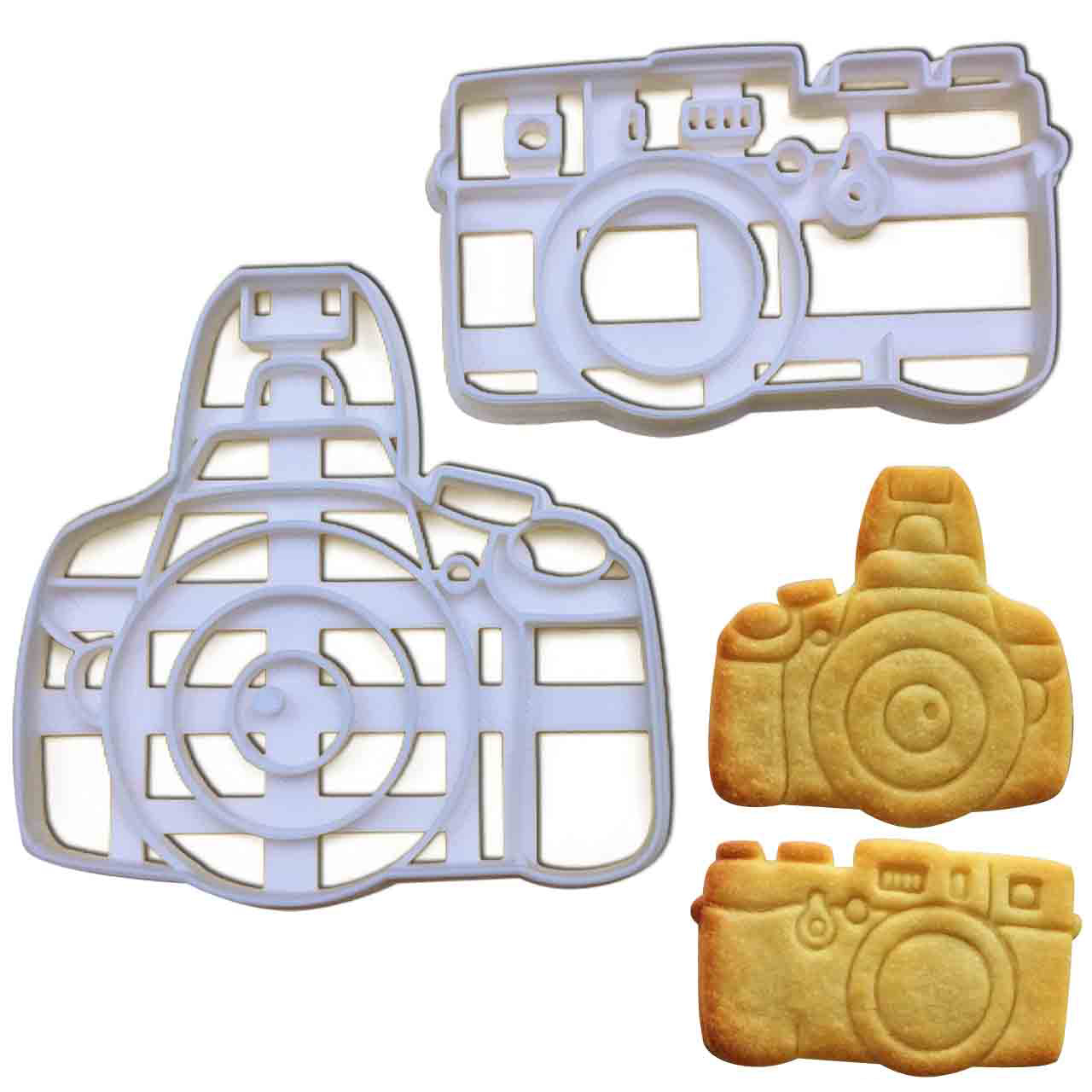 set of 2 camera cookie cutters, featuring a dslr and a slr camera