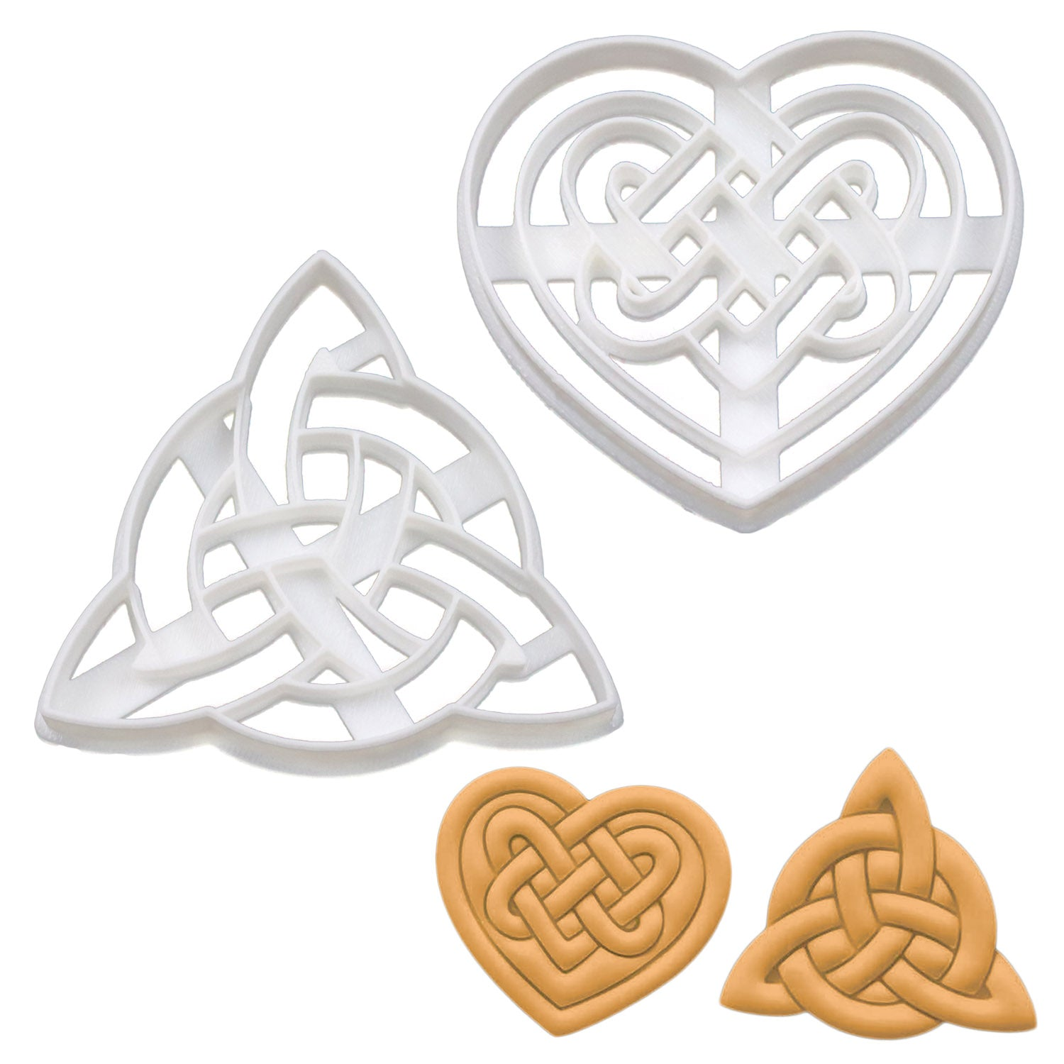 Set of 2 Cookie Cutters: Celtic Heart & Triquetra